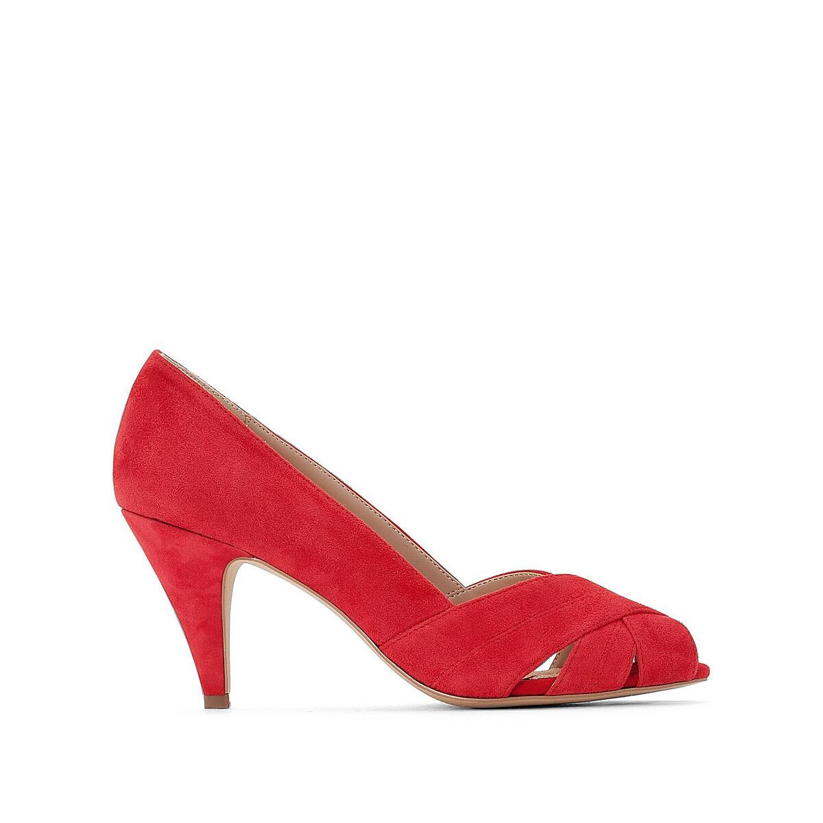 Туфли LaRedoute С открытым мыском на каблуке 40 красный