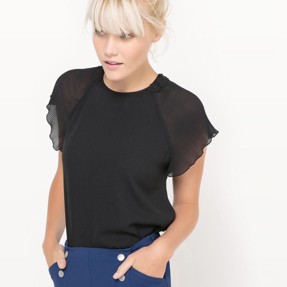 Блузка с короткими рукавами с плиссировкой, цветы 3D на воротнике блузка кружевная с короткими рукавами