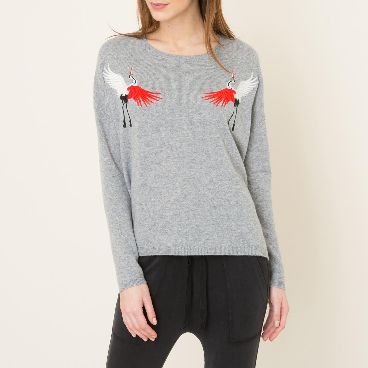 Пуловер из кашемира с вышивкойСостав и описание Материал : 100% кашемирВышивка 65% полиэстера, 35% металлизированных волоконМарка : THE KOOPLES<br><br>Цвет: серый<br>Размер: M