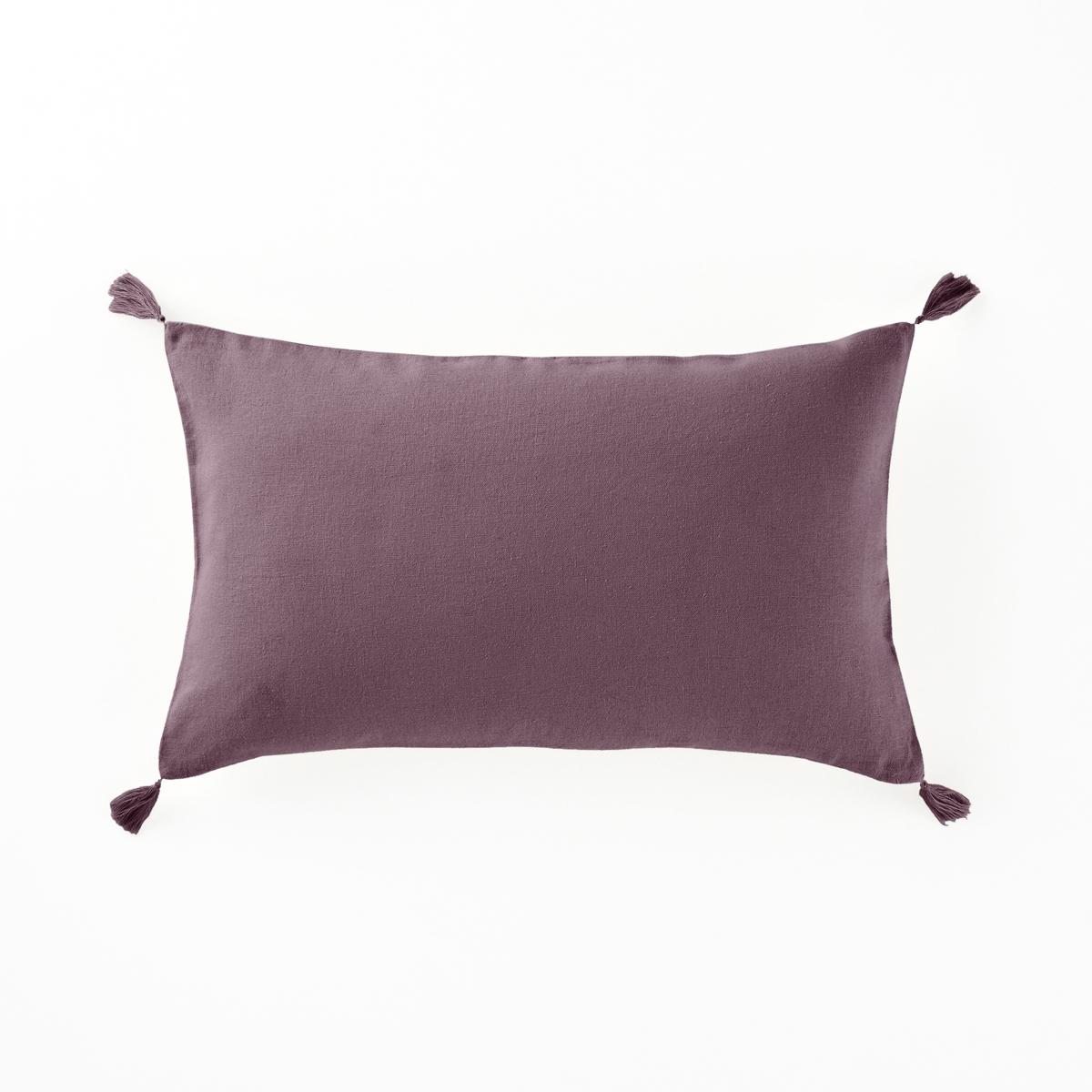 Наволочка на подушку-валик из льна и вискозы, OdorieНаволочка на подушку-валик с кисточками из льна и вискозы,  Odorie, La Redoute Int?rieurs.Наволочка на подушку-валик для ежедневного использования: красивое сочетание льна и вискозы, отделка кисточками.Характеристики чехла для подушки :Материал : 55% льна, 45% вискозыЗастежка на скрытую молнию. Уход : Машинная стирка при 40 °С. Отделка кисточками по 4 углам.Размеры наволочки на подушку-валик :50 x 30 см.    Уход :Следуйте рекомендациям по уходу, указанным на этикетке изделия.  Знак Oeko-Tex® гарантирует, что товары прошли проверку и были изготовлены без применения вредных для здоровья человека веществ.<br><br>Цвет: бежевый,гранатовый,сине-зеленый,ярко-фиолетовый<br>Размер: 50 x 30 см.50 x 30 см.50 x 30 см.50 x 30 см