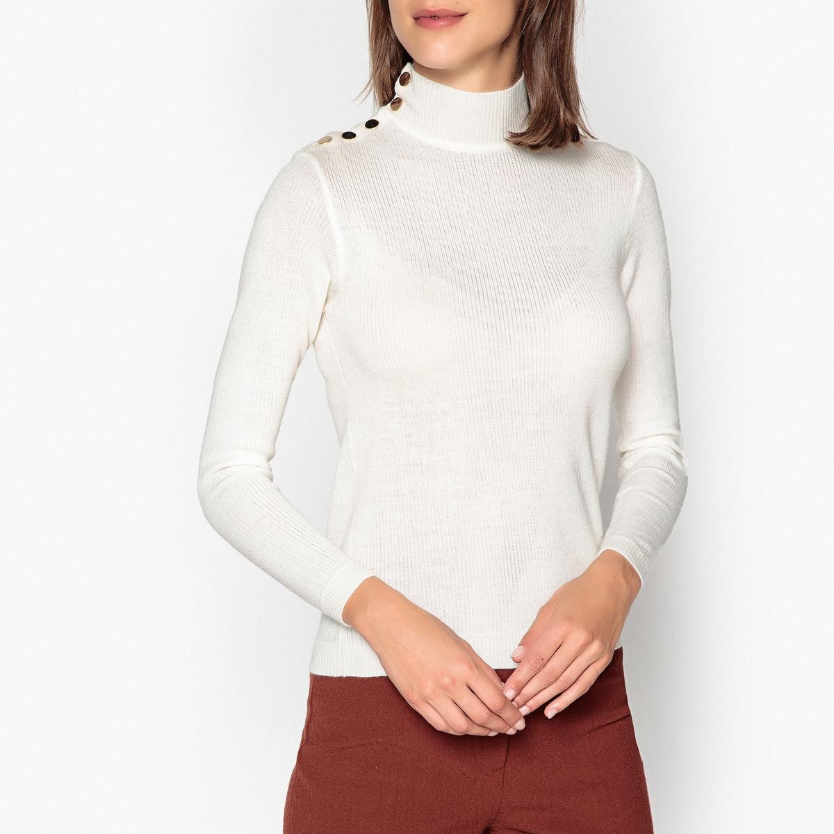 Пуловер с воротником с отворотом на кнопках из тонкого трикотажа ROCK