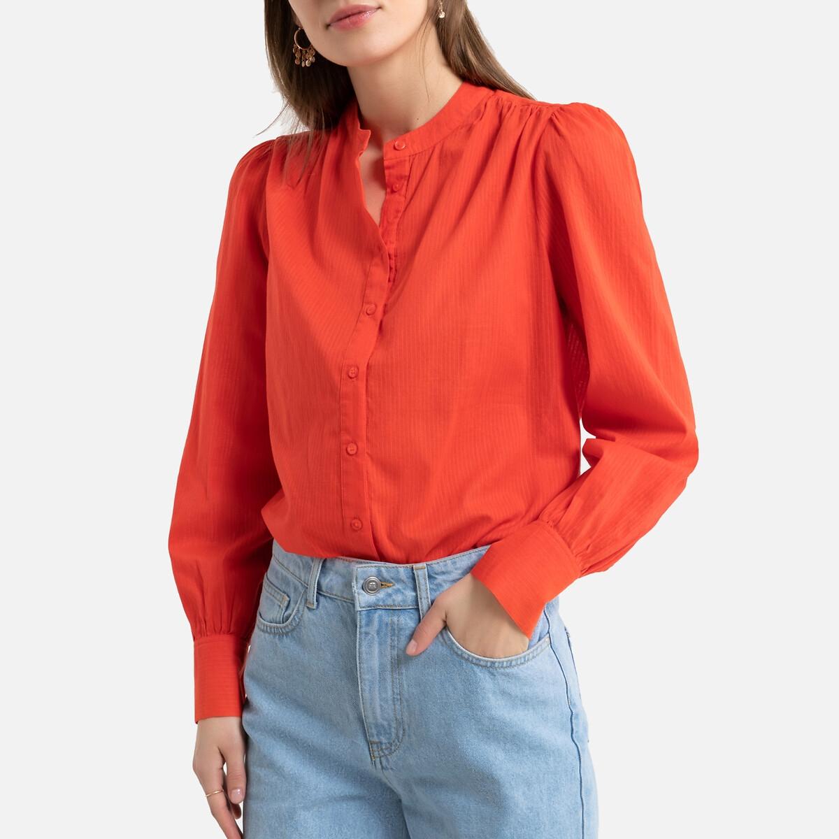 Camisa con cuello redondo, manga larga