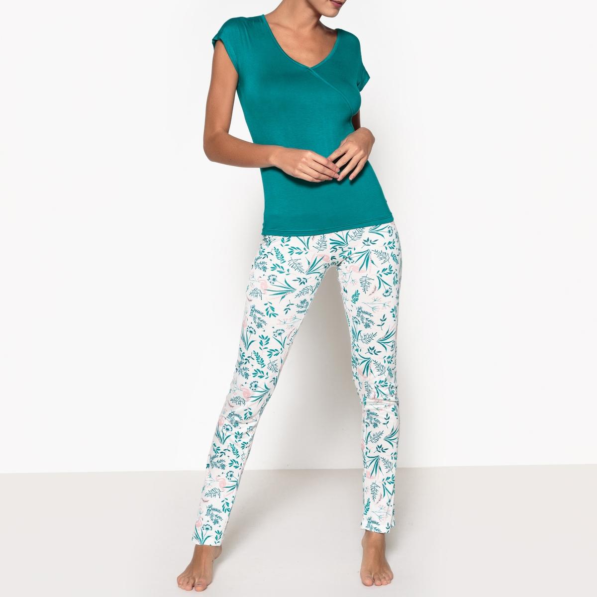 Пижама из вискозы с рисунком растения, Arome пижама с шортами с рисунком