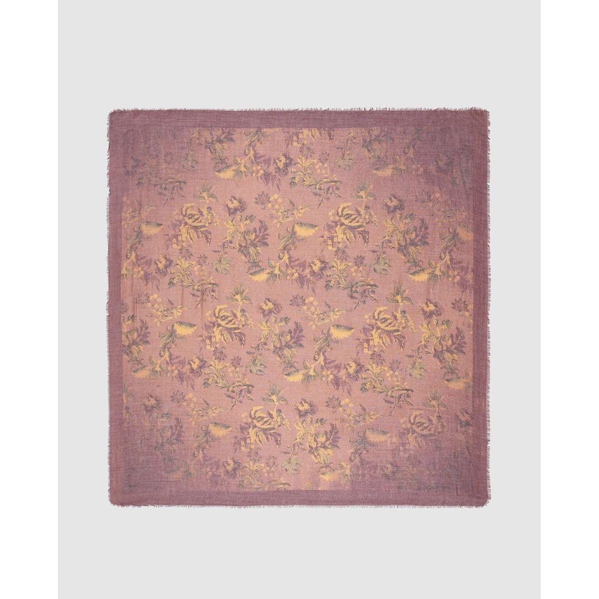Foulard bordeaux à imprimé floral