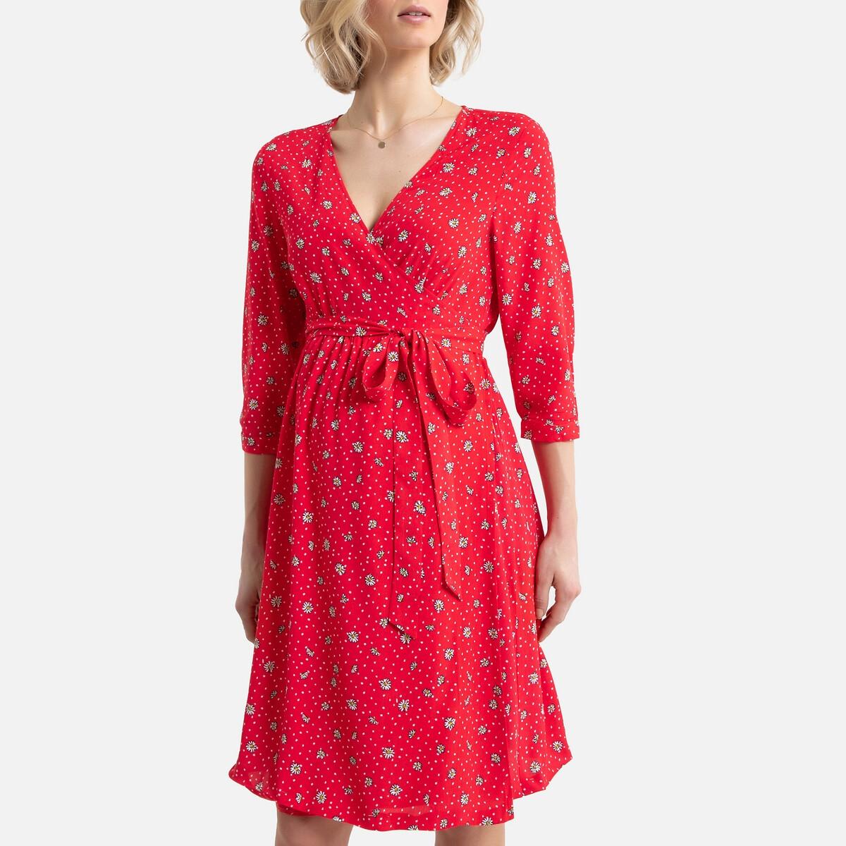 Платье La Redoute Для периода беременности с запахом цветочным принтом 42 (FR) - 48 (RUS) разноцветный
