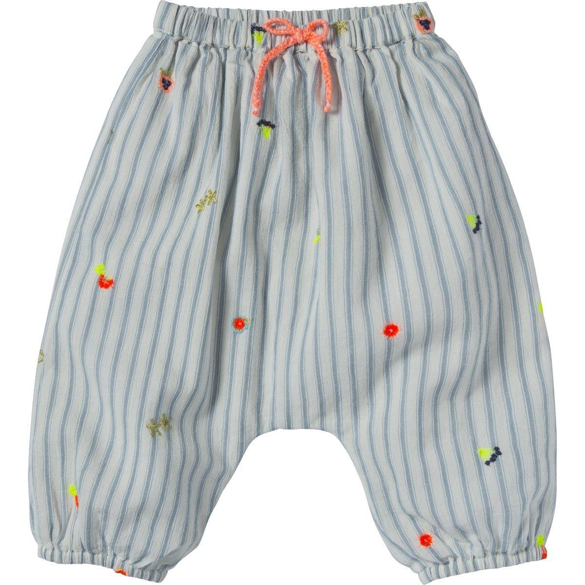 Pantalon rayé et brodé  Willy à fleurs