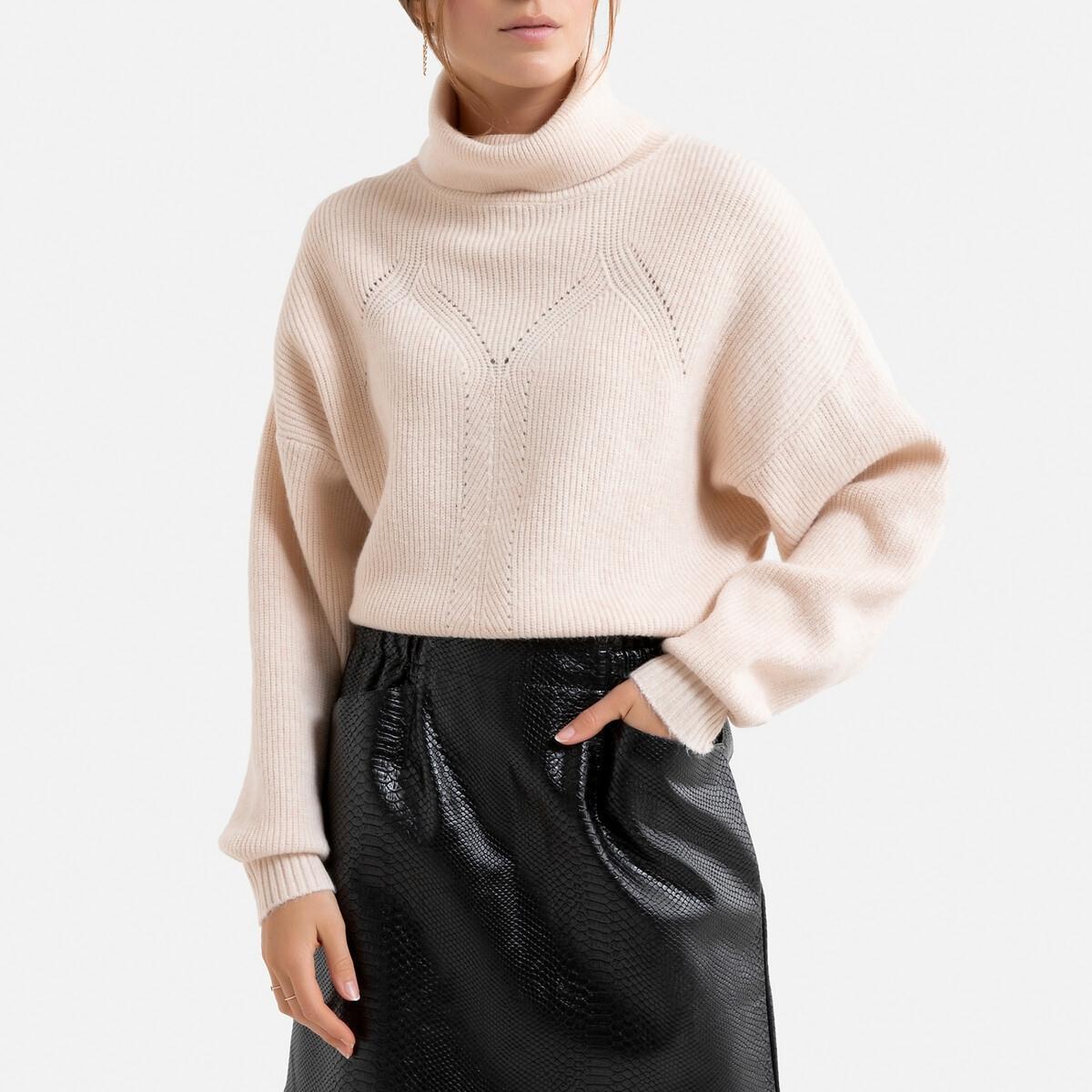 Пуловер La Redoute С воротником с отворотом и ажурными вставками L/XL розовый
