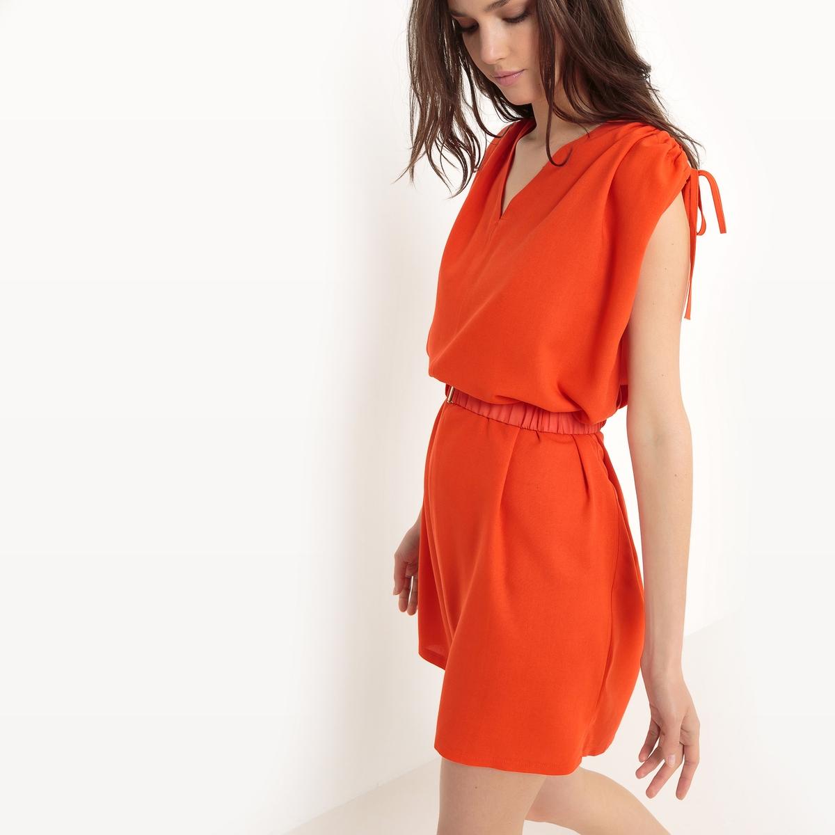 Платье с короткими рукавами, приталенноеДетали   •  Форма :прямая   • Короткое •  Короткие рукава    •   V-образный вырез  Состав и уход •  100% полиэстер  •  Следуйте советам по уходу, указанным на этикетке<br><br>Цвет: оранжевый<br>Размер: S/M