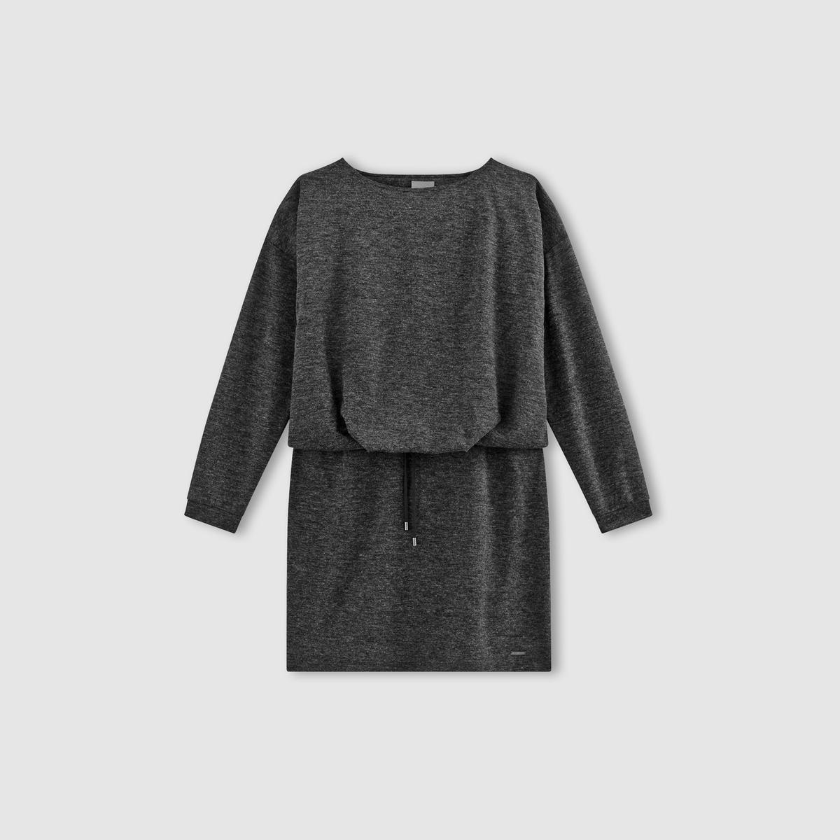 Платье меланж с длинными рукавами, VMNORAПлатье с длинными рукавами VMNORA от VERO MODA. Платье из ткани меланж и с отделкой манжет в рубчик. Свободный круглый вырез. Шнурок с завязками и напускной эффект на поясе. Состав и описаниеМарка : VERO MODA.Модель : VMNORA Материал : 80% полиэстера, 15% вискозы, 5% эластана.<br><br>Цвет: темно-серый<br>Размер: M