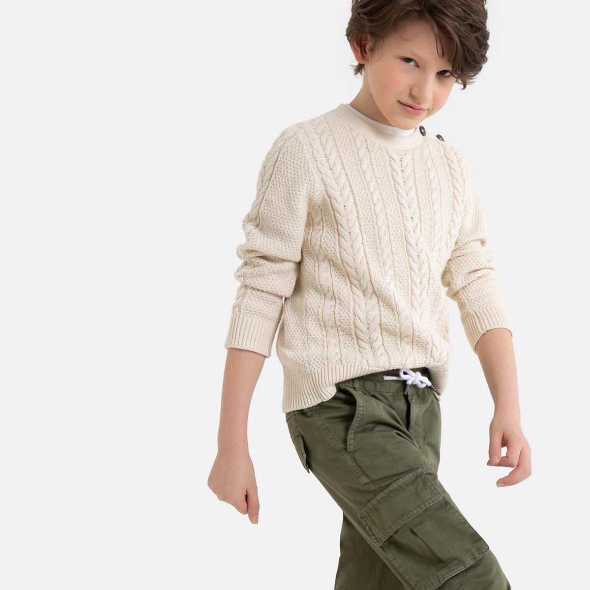 Пуловер La Redoute С круглым вырезом и витым узором 8 лет - 126 см бежевый абажур la redoute с зигзагообразным узором wombat диаметр 35 см бежевый