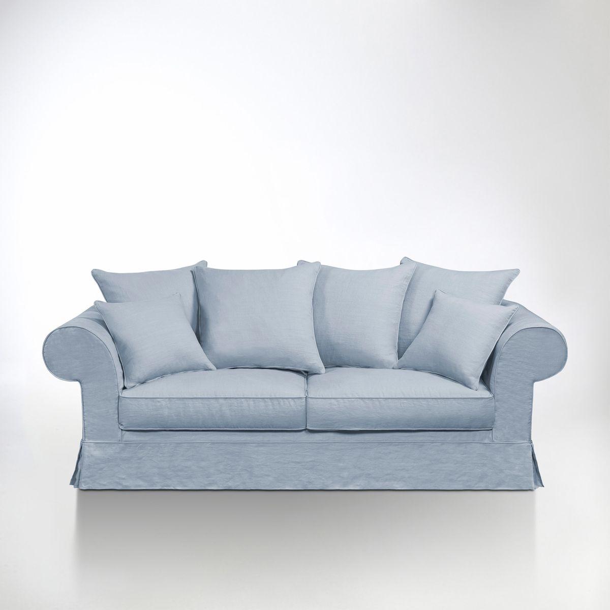 Canapé lin froissé Adelia, fixe, confort supérieur. Délassez-vous dans ce canapé à lassise confortable et succombez à lélégance de ses couleurs poudrées ! Les matériaux de ce canapé ont été choisis pour vous assurer qualité et confort. Fabrication françai