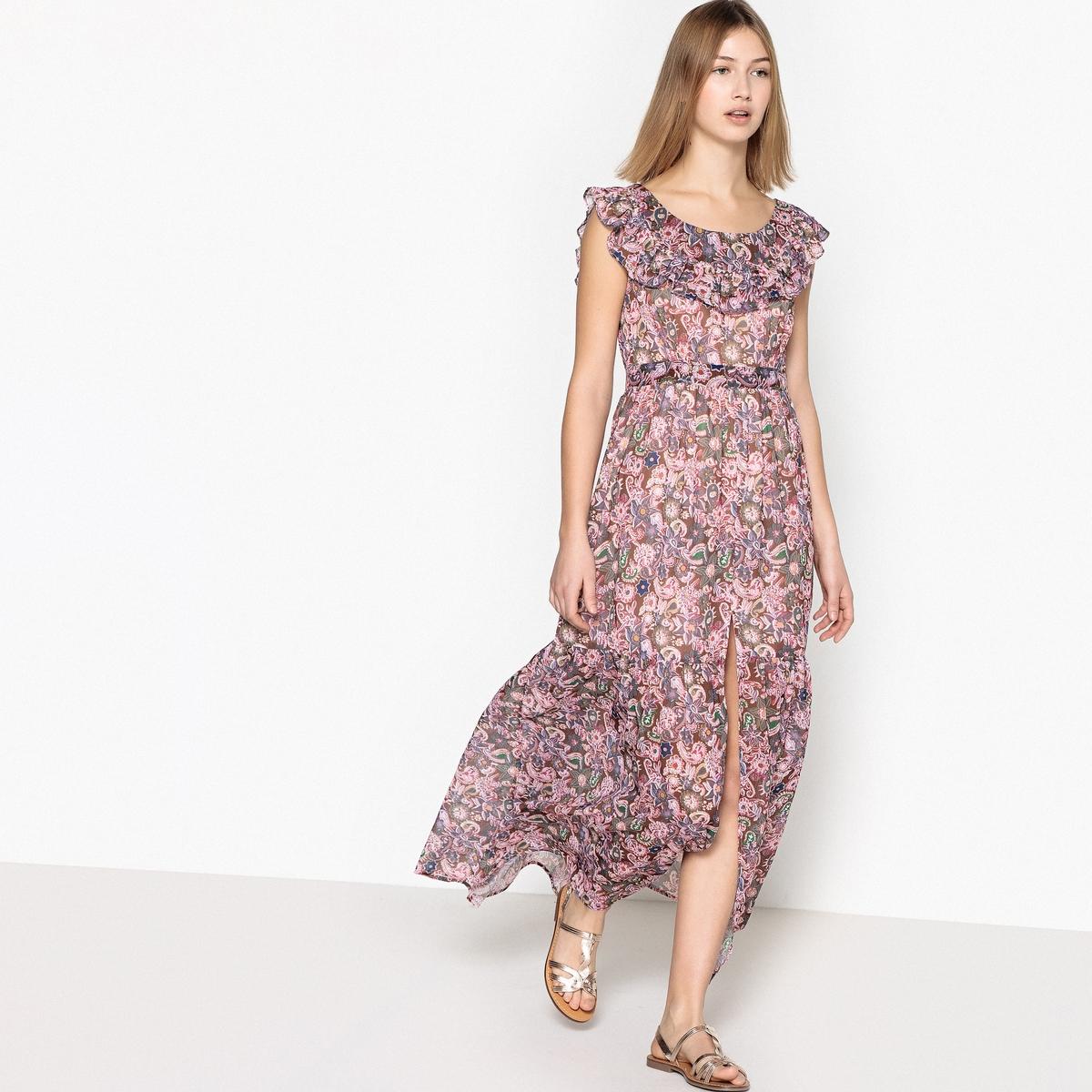 купить Платье длинное расклешенное с короткими рукавами по цене 5459.3 рублей