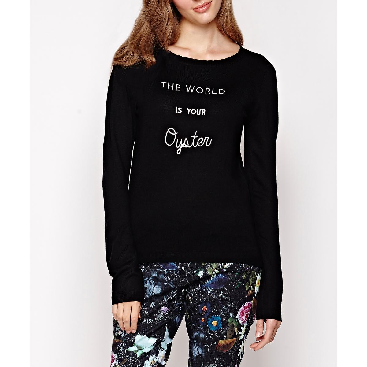 Пуловер с надписью, с длинными рукавамиСостав и описание :Материал : 47% полиэстера, 25% акрила, 20% полиамида, 8% шерсти.Марка : YUMI.Уход: :- Стирать вручную..<br><br>Цвет: черный<br>Размер: 36 (FR) - 42 (RUS)
