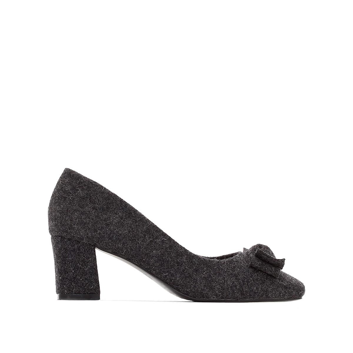 Туфли на каблуке с бантикомВерх : текстиль     кожа. Подошва : синтетика     14,5 см. : кожа с памятью формы     Подошва : эластомер     Высота каблука : 5,5 см<br><br>Цвет: серый