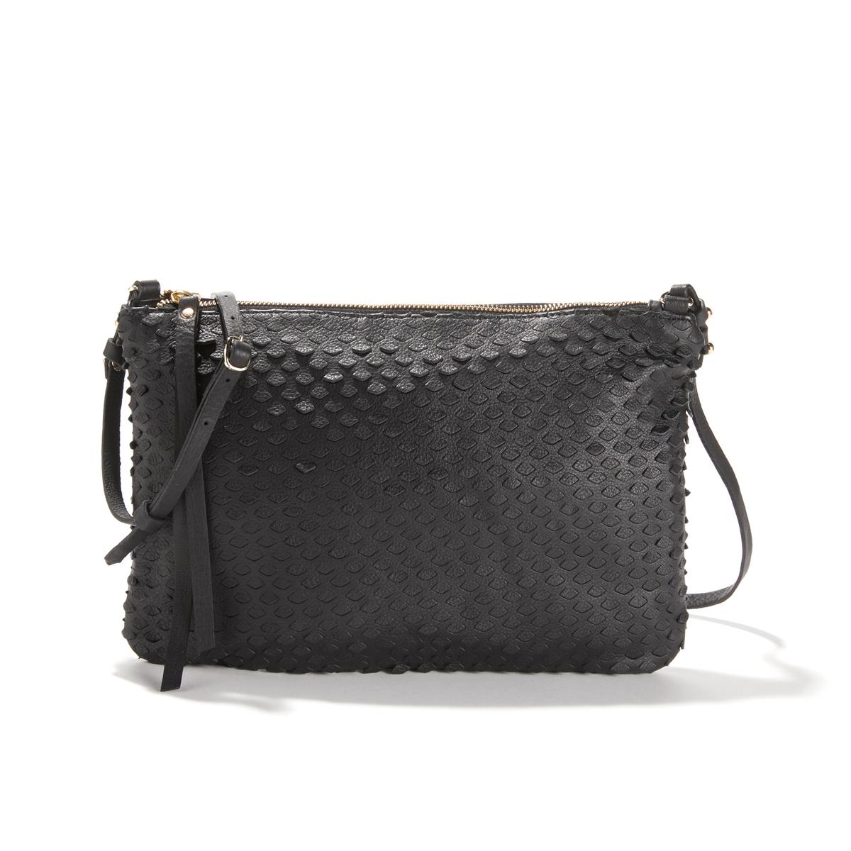 Сумка кожанаяСумка из красивой кожи. Симпатичная современная сумка из кожи  в стиле casual. Кожаная сумка на каждый день. Состав и описание: •  Внешний материал: 100% яловичной кожи. •  Подкладка: 100% хлопок. •  Размер: Д.33 x В.22 x Г.2 см. •  Застежка: молния. •  Внешние карманы: нет. •  Внутренние карманы:  1 карман для мобильного телефона. •  Регулируемый и несъемный ремешок.<br><br>Цвет: черный<br>Размер: единый размер