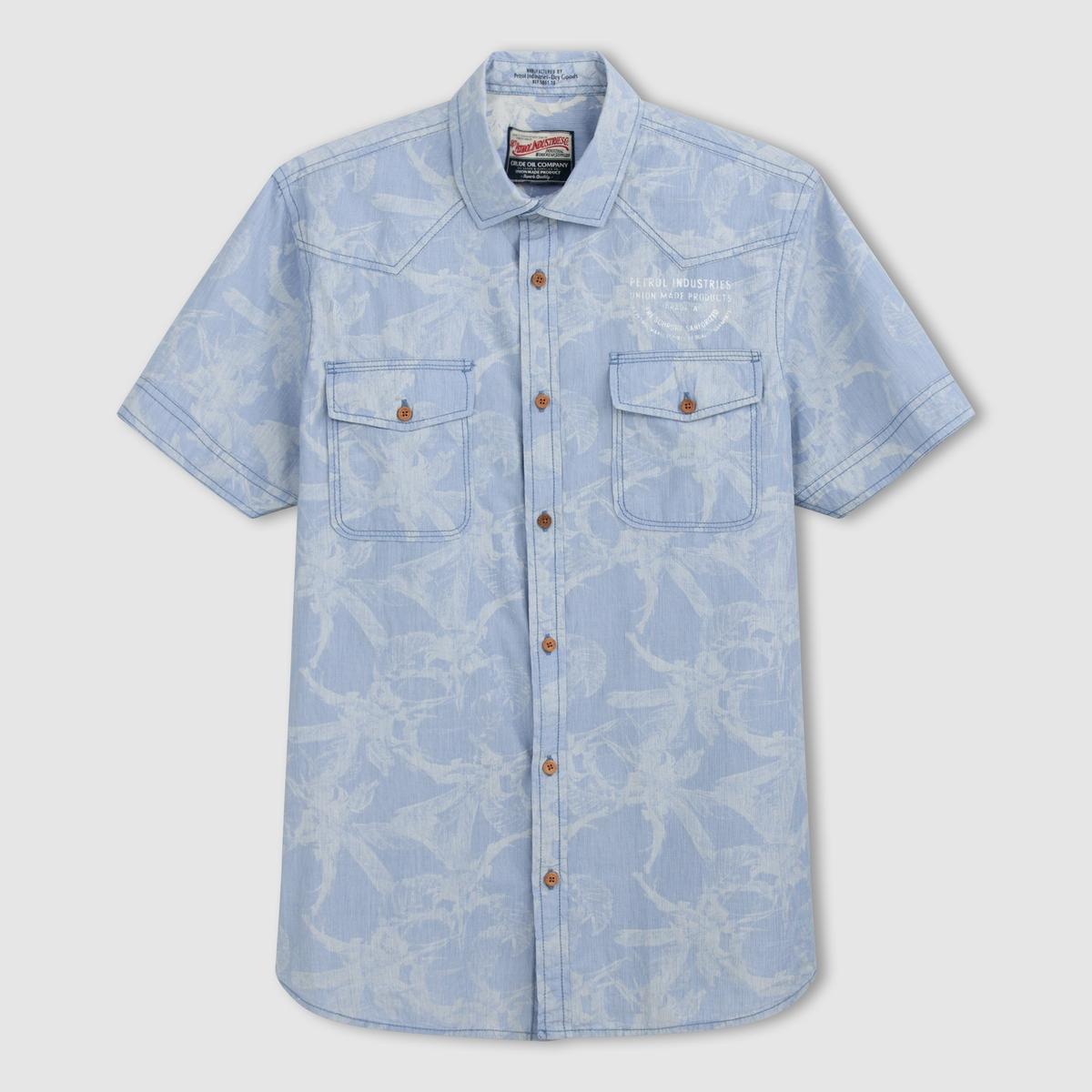 Рубашка с рисунком с короткими рукавамиСостав и описание :Материал : 100% хлопкаМарка : PETROL INDUSTRIES.<br><br>Цвет: кобальтовый синий