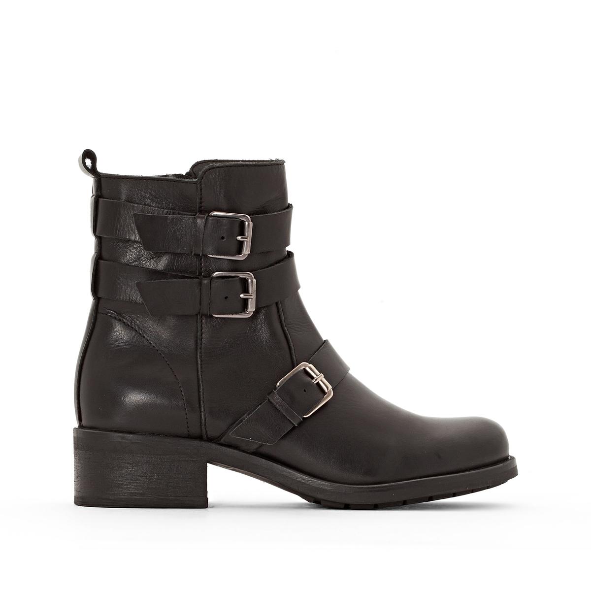 цена Ботинки La Redoute Кожаные в байкерском стиле 36 черный онлайн в 2017 году