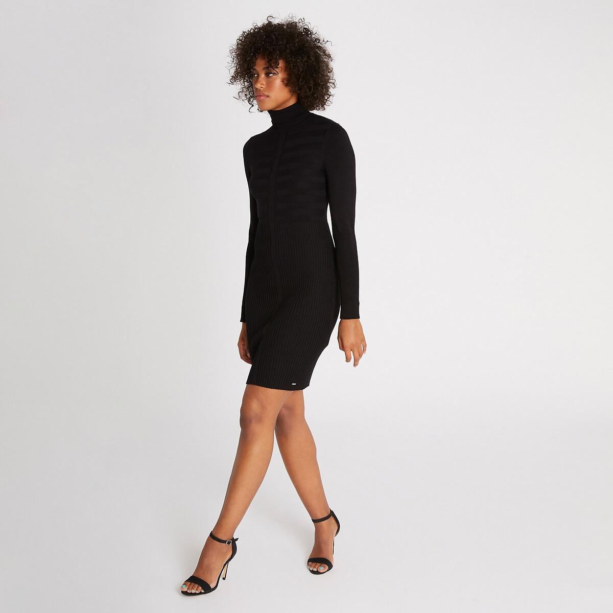 Платье La Redoute Облегающее с отворачивающимся воротником и длинными рукавами M черный