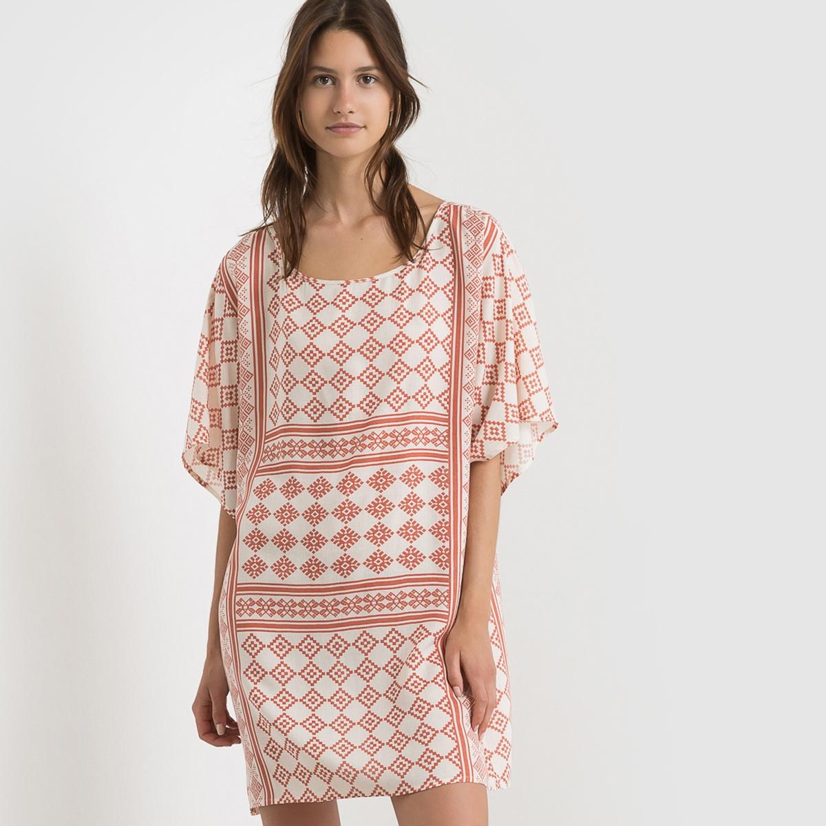 Платье с этническим рисунком VITIKAS DRESSСостав и описание     Материал: 100% вискозы.     Марка: VILA<br><br>Цвет: экрю/ оранжевый<br>Размер: M