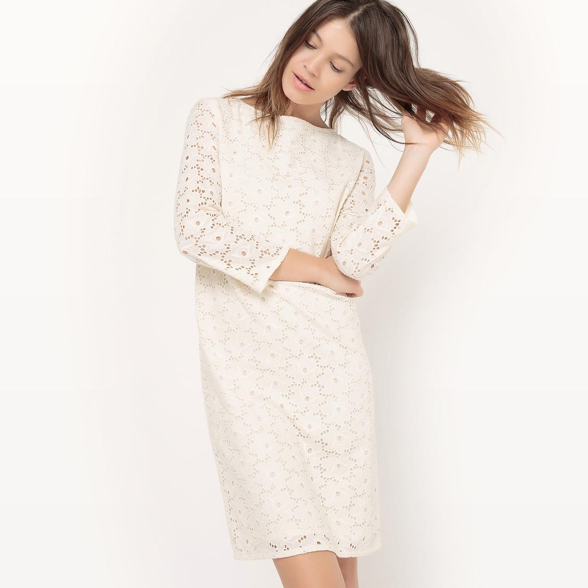 Платье с английской вышивкой, длина до колен платья