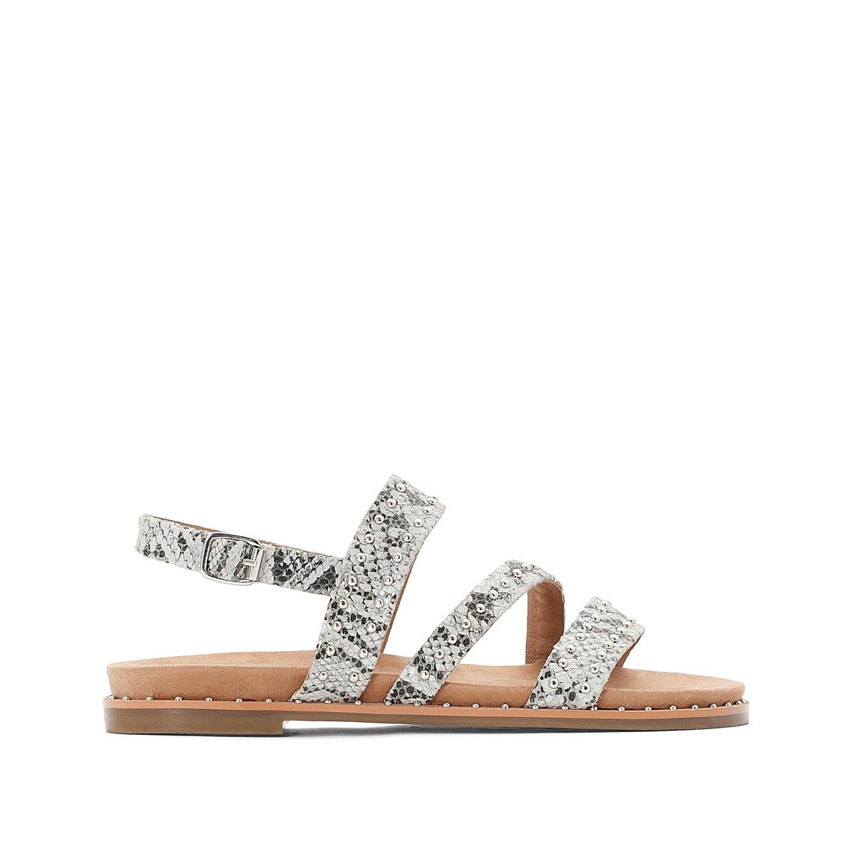цена Босоножки La Redoute На плоском каблуке 36 каштановый онлайн в 2017 году