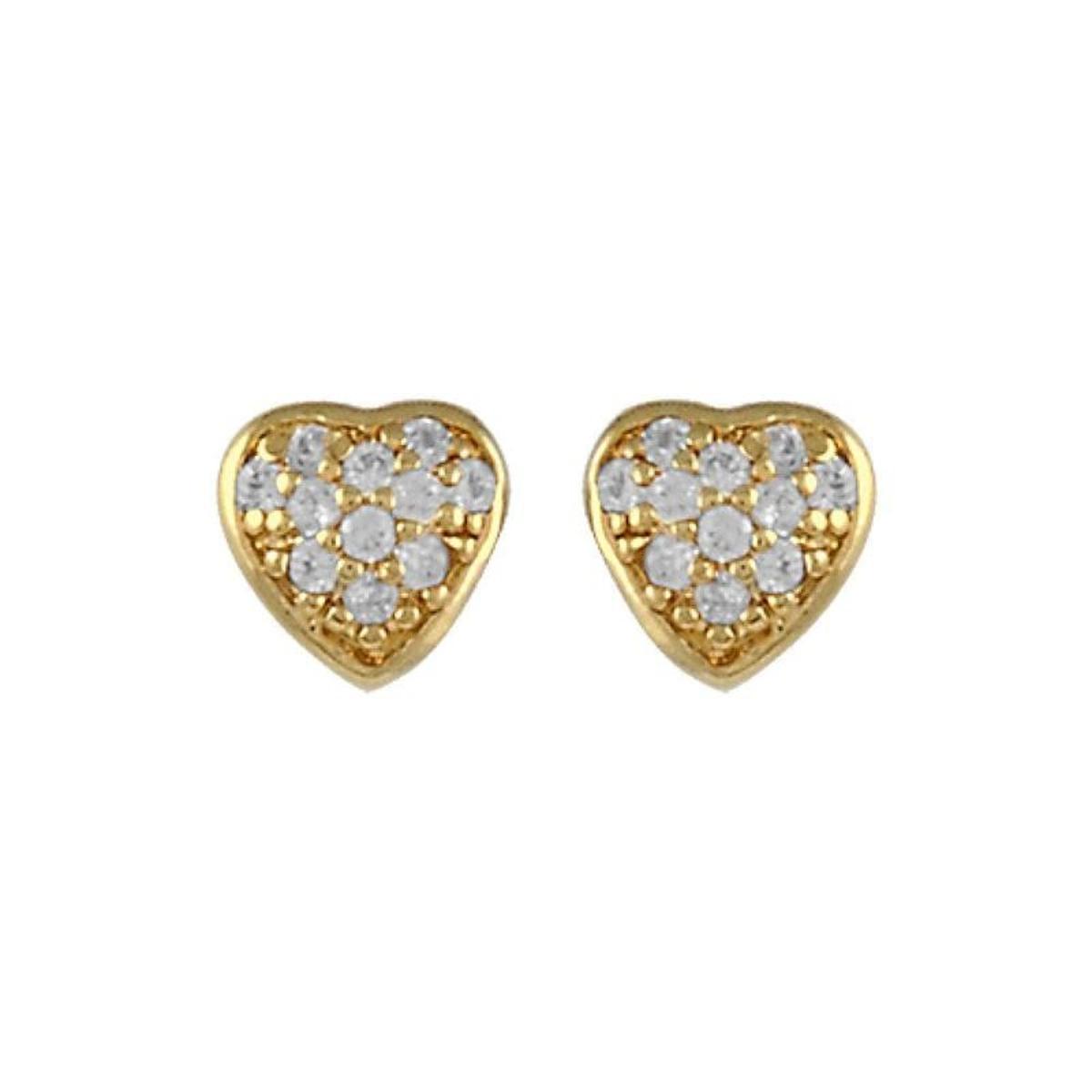 Boucles d'oreilles Coeur Blanc Plaqué Or 750
