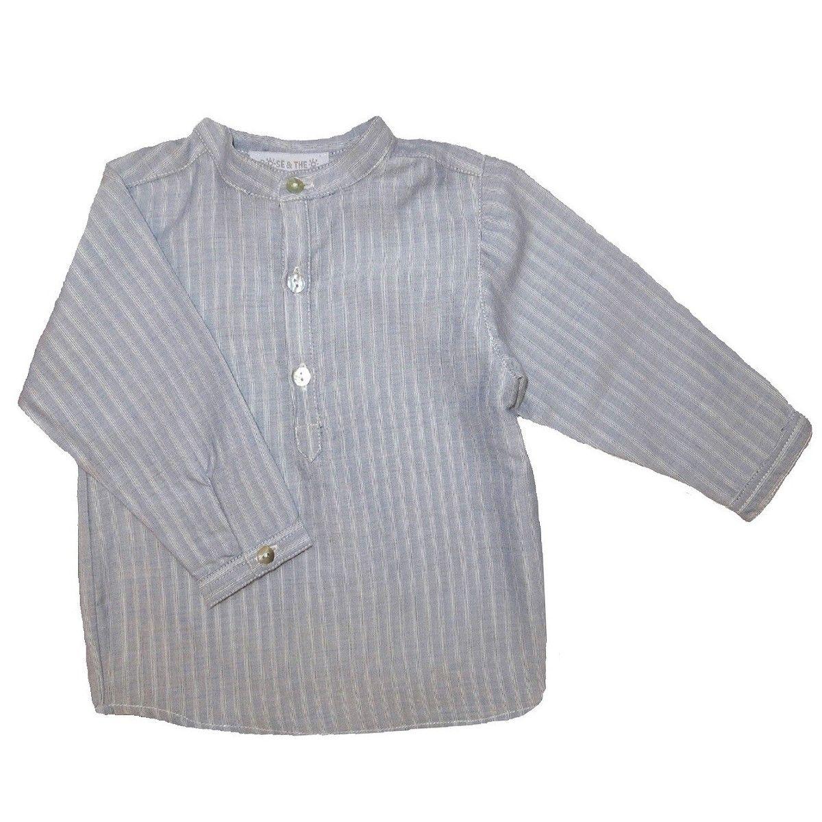 Chemise en coton col mao à rayures GUSTAVE