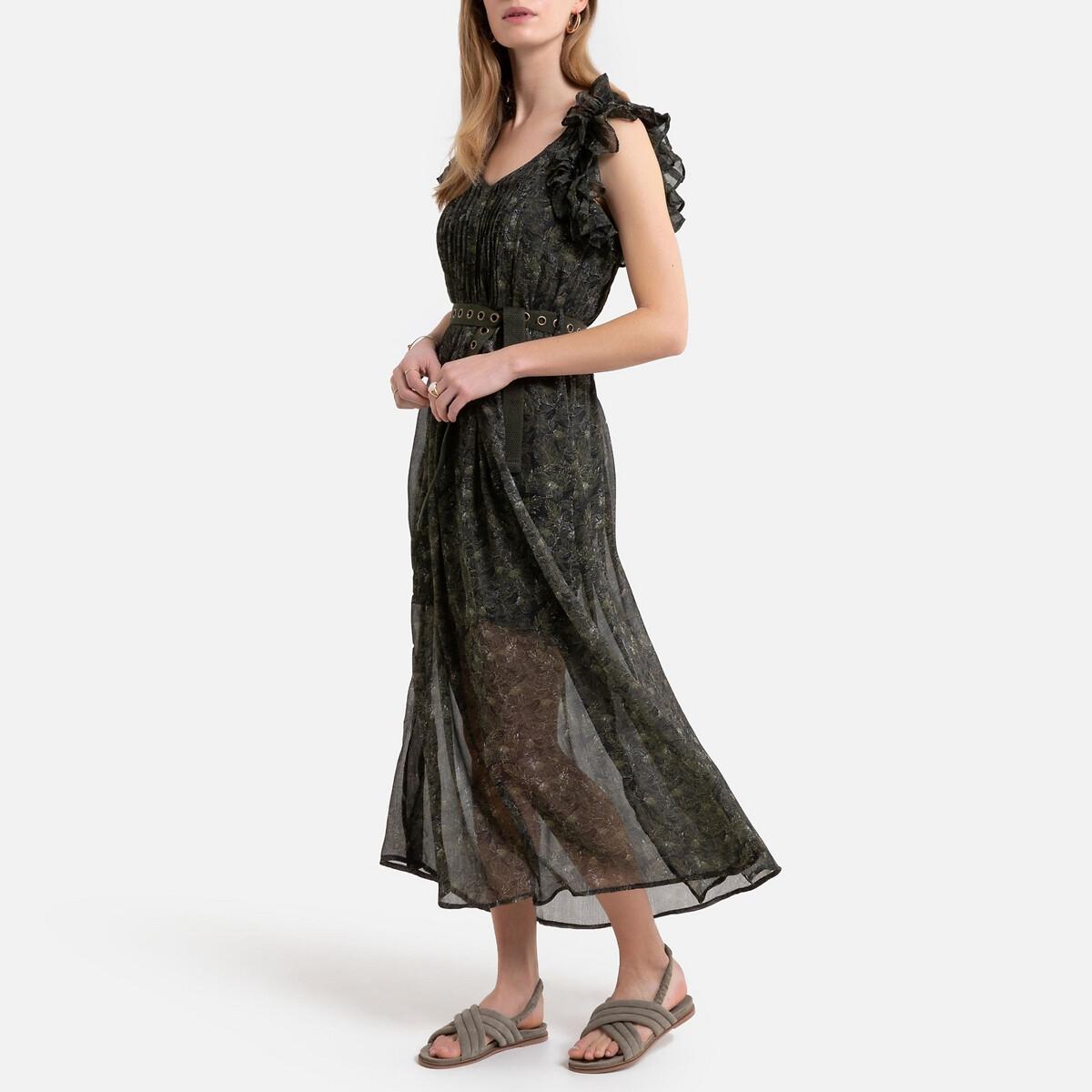 Платье La Redoute Длинное без рукавов с воланами L зеленый