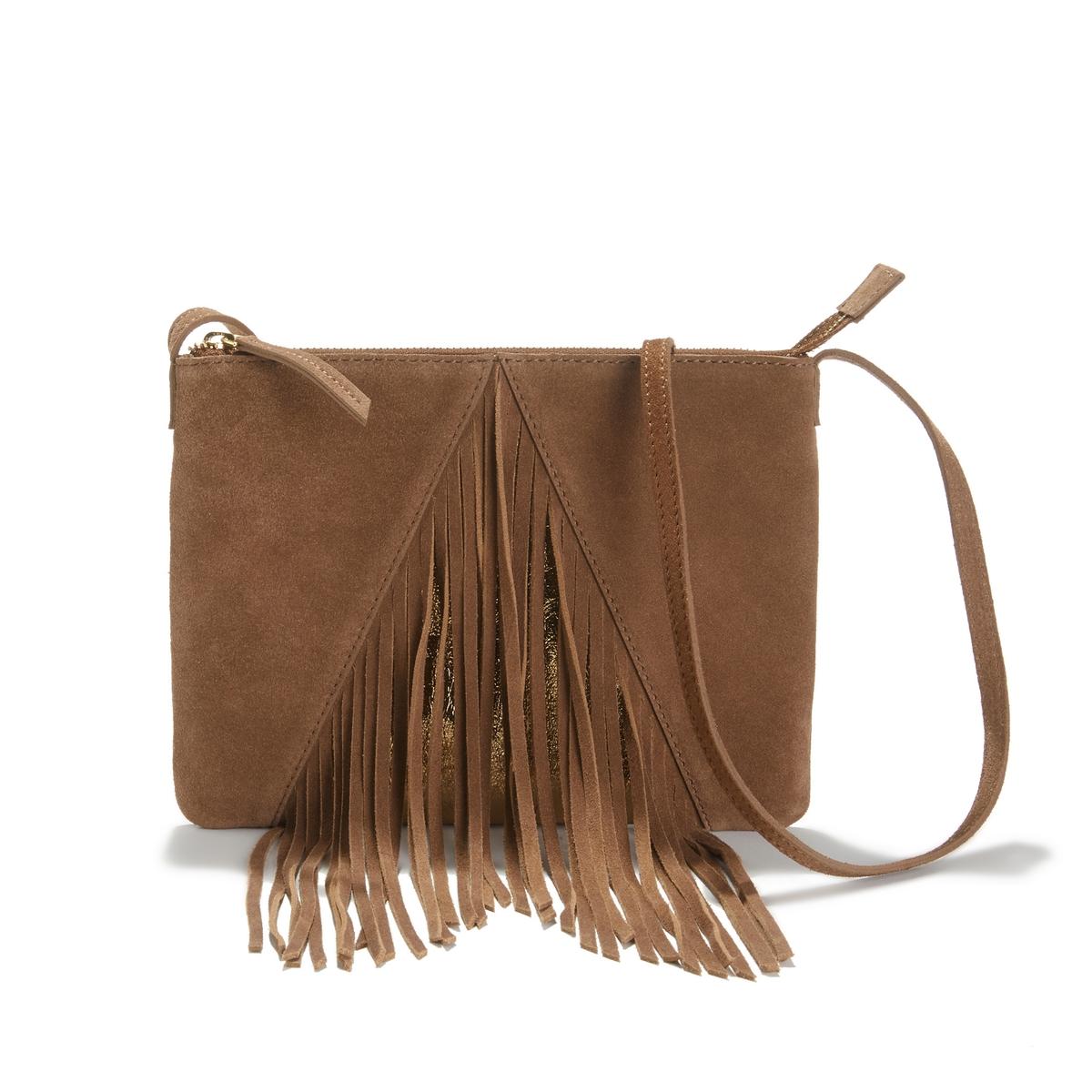 Сумка-клатч La Redoute Из кожи с бахромой UNI каштановый сумка клатч la redoute с помпонами uni черный