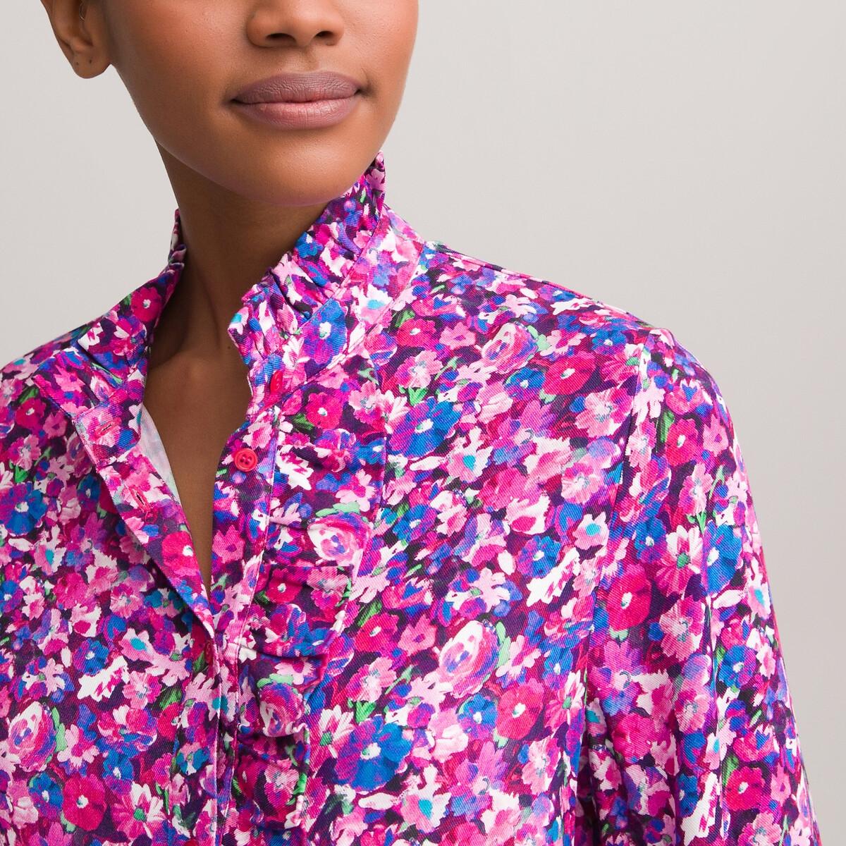 Блузка LaRedoute С воротником-стойкой и цветочным принтом 38 (FR) - 44 (RUS) разноцветный блузка laredoute с рубашечным воротником и вышивкой 38 fr 44 rus синий