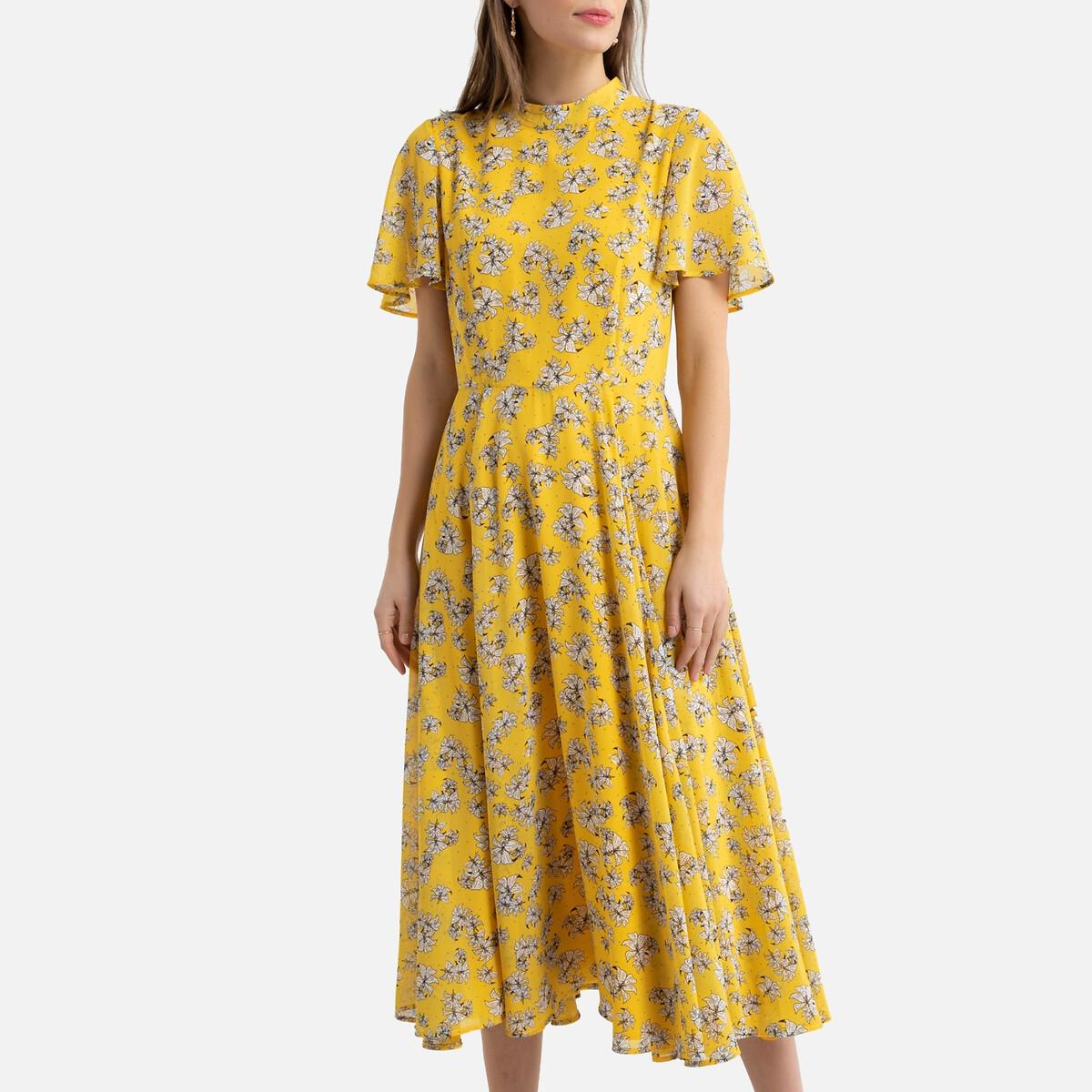Vestido estampado com folhos nas mangas curtas