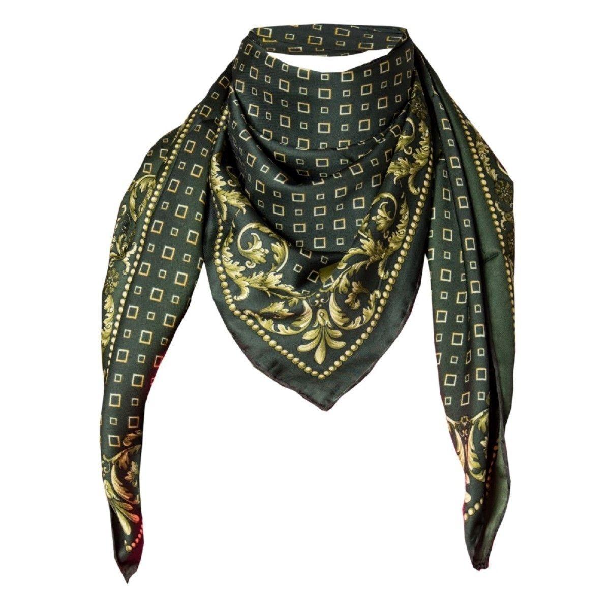 Foulard motif Vert avec sa pochette cadeau