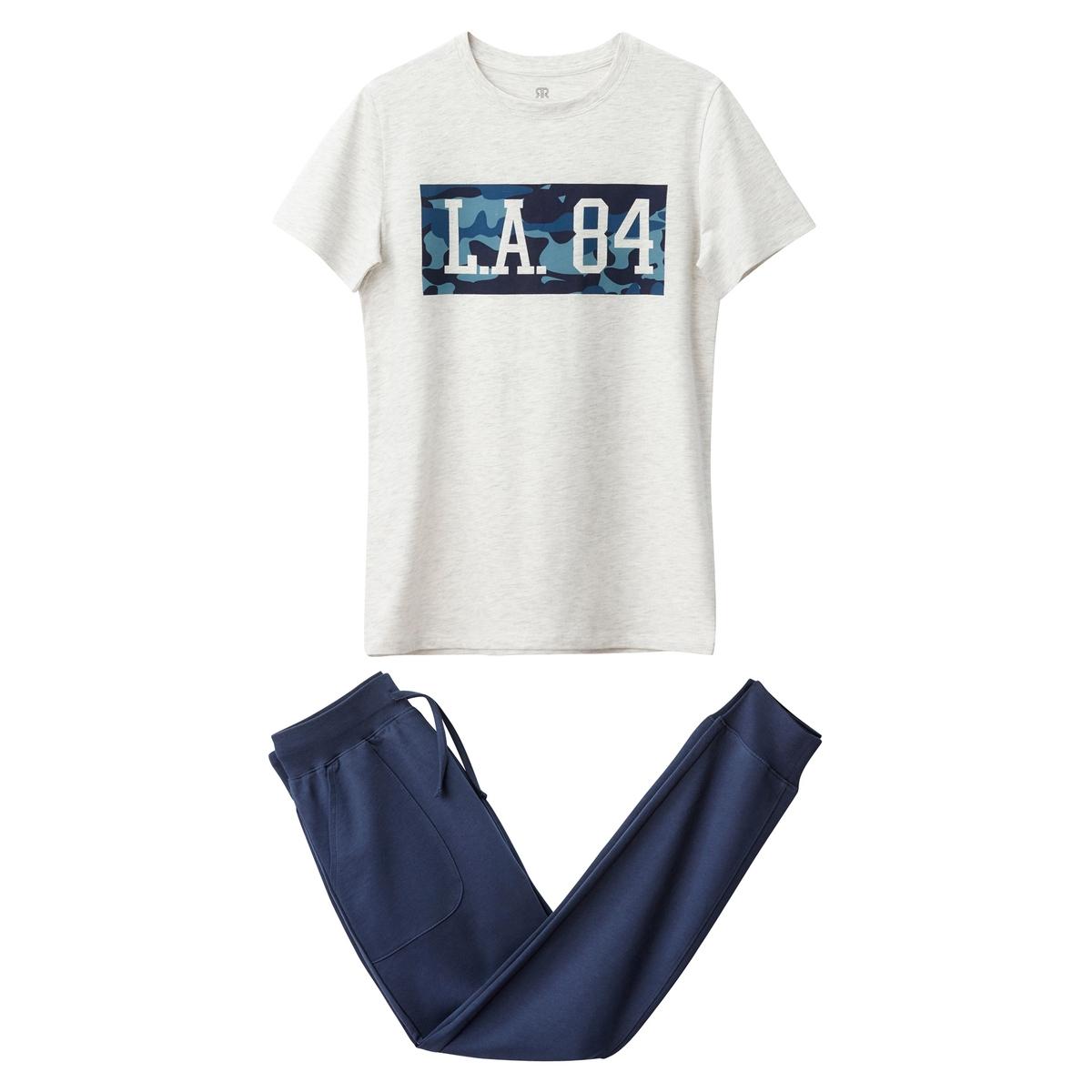 Пижама из 2 материалов с принтом на 10-16 лет
