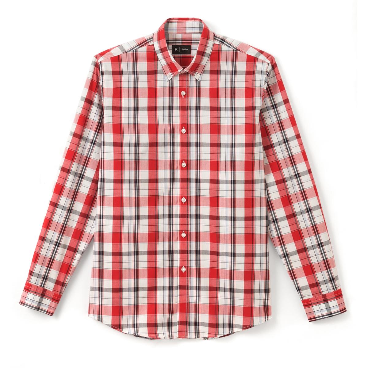 Рубашка прямого покроя в клетку 100% хлопокРубашка с длинными рукавами в клетку.  Прямой покрой, классический воротник. Низ рукавов с застежкой на пуговицы.Состав и описание :Материал  100% хлопкаМарка  R ?ditionДлина 79 смУход:Машинная стирка при 30 °C в деликатном режимеСтирать с вещами подобного цвета с изнанки   Отбеливание запрещеноГладить при средней температуреГладить с изнаночной стороныСухая (химическая) чистка запрещенаМашинная сушка запрещена<br><br>Цвет: в клетку красный<br>Размер: 37/38
