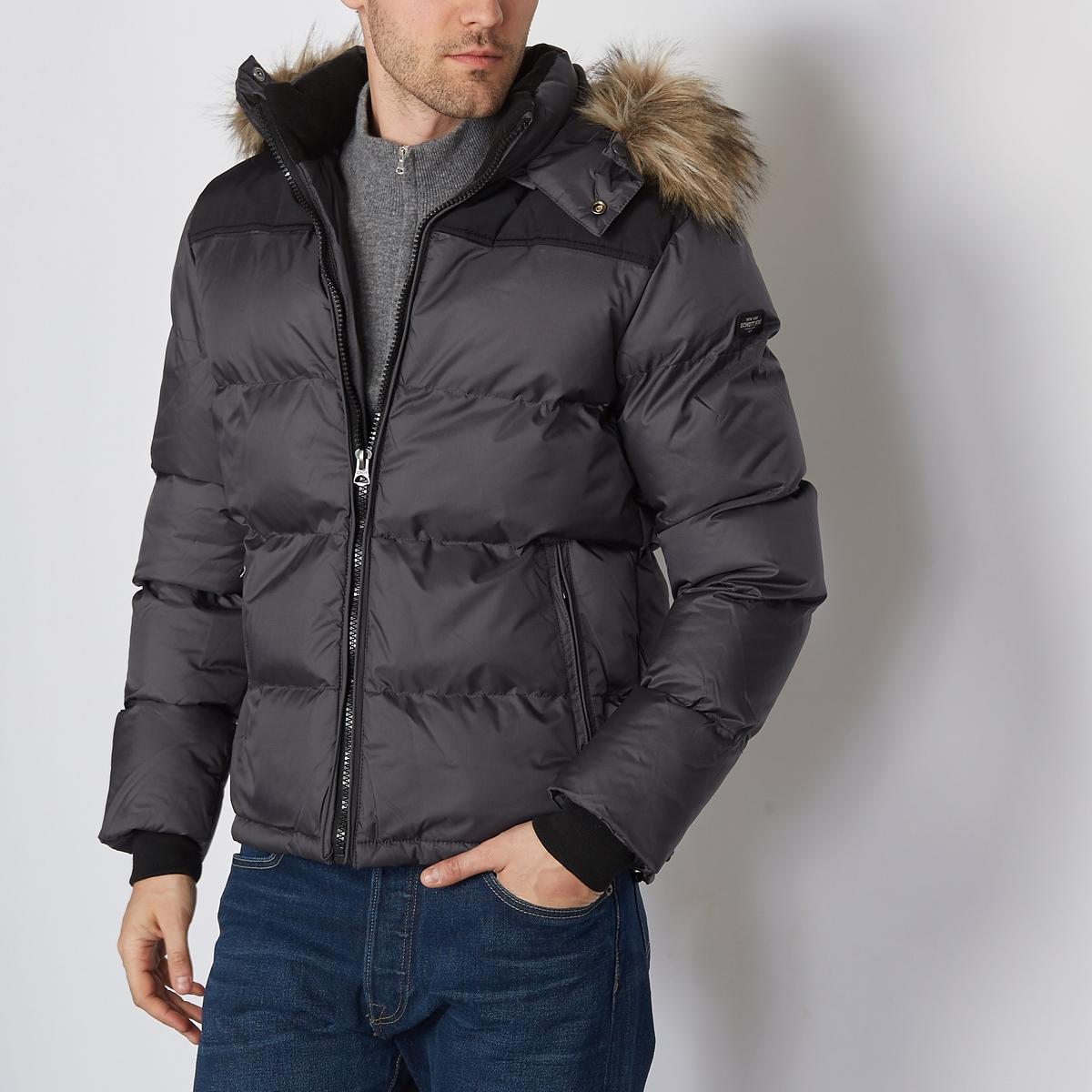 Стеганая куртка с капюшономСостав и описаниеМатериал : 100% полиамида, нейлонаМарка : SCHOTT<br><br>Цвет: антрацит/ черный