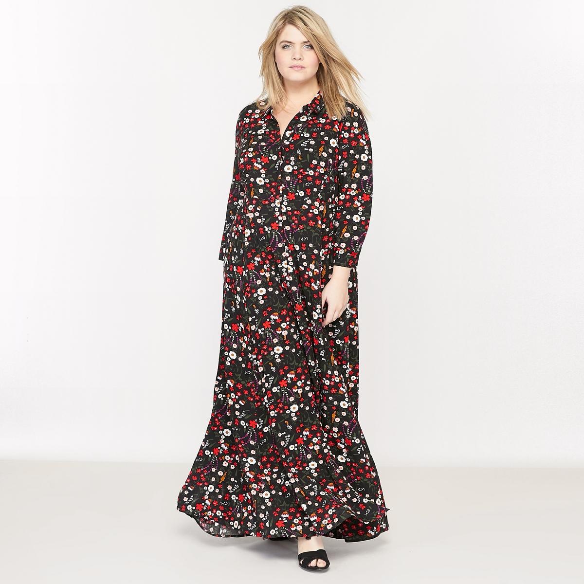 Платье длинное с цветочным рисункомСостав и описание :Материал : ткань с цветочным рисунком, 100% вискоза.Длина посередине сзади 145 см.Марка : CASTALUNAУход : Машинная стирка при 40 °С.<br><br>Цвет: цветочный рисунок<br>Размер: 52 (FR) - 58 (RUS)