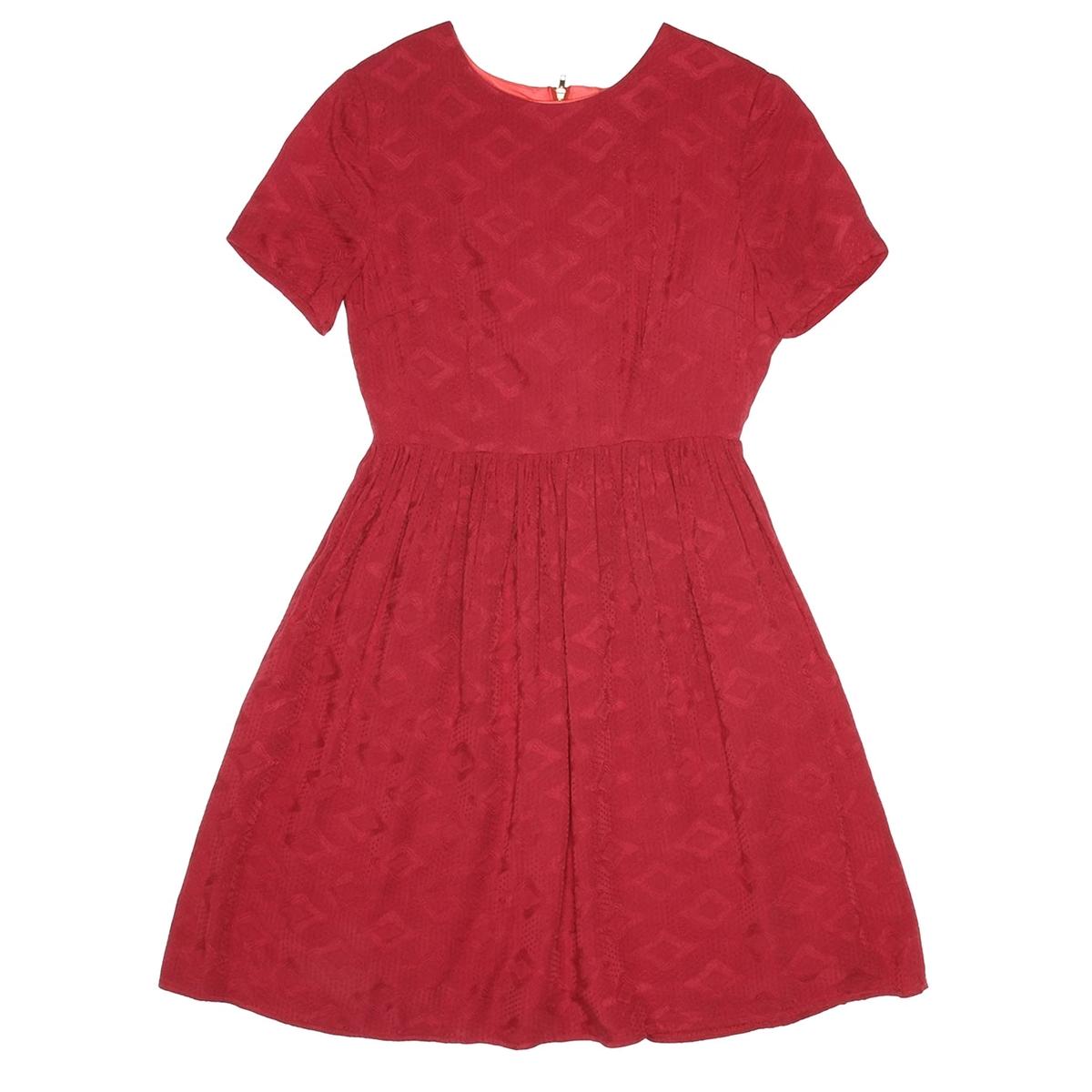 Платье с круглым вырезом и короткими рукавамив винтажном и романтичном стиле, истинно женственное!Состав и описаниеМатериал:  100% вискозыМарка: Pepaloves.Застежка: молния сзади.<br><br>Цвет: красный