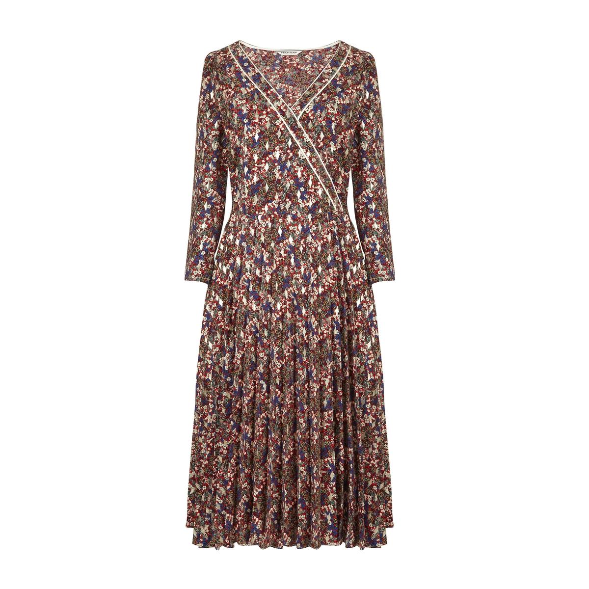 Платье La Redoute С плиссированной юбкой цветочный рисунок 38 (FR) - 44 (RUS) красный
