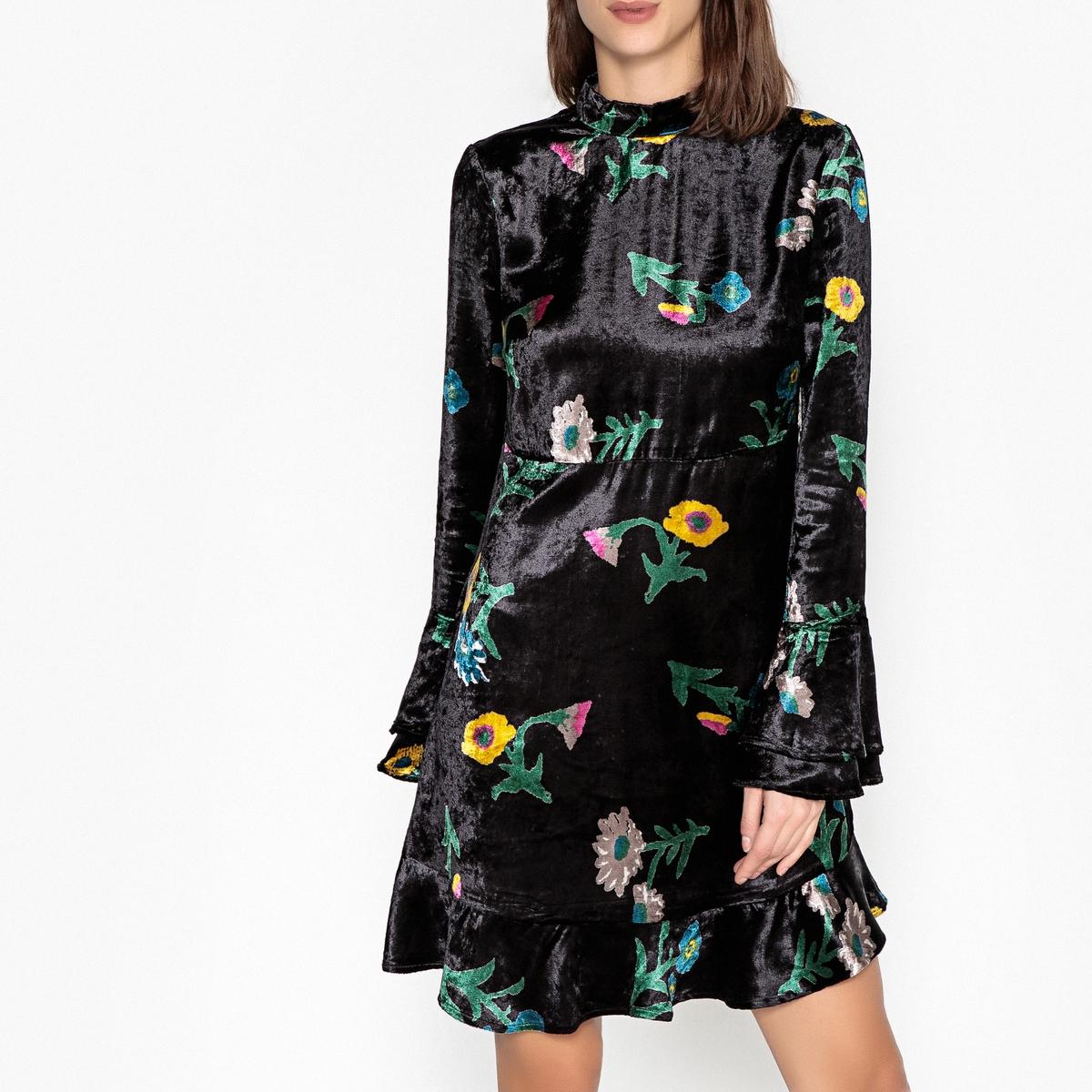 Платье La Redoute С цветочным рисунком и длинными рукавами из велюра ROMEO S черный платье la redoute с цветочным рисунком короткими рукавами и воланами на груди s оранжевый