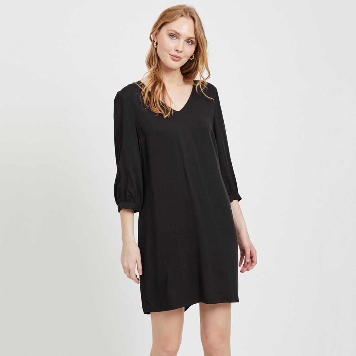 Платье La Redoute Прямого покроя с V-образным вырезом 34 (FR) - 40 (RUS) черный платье la redoute радужное estelle 36 fr 42 rus черный
