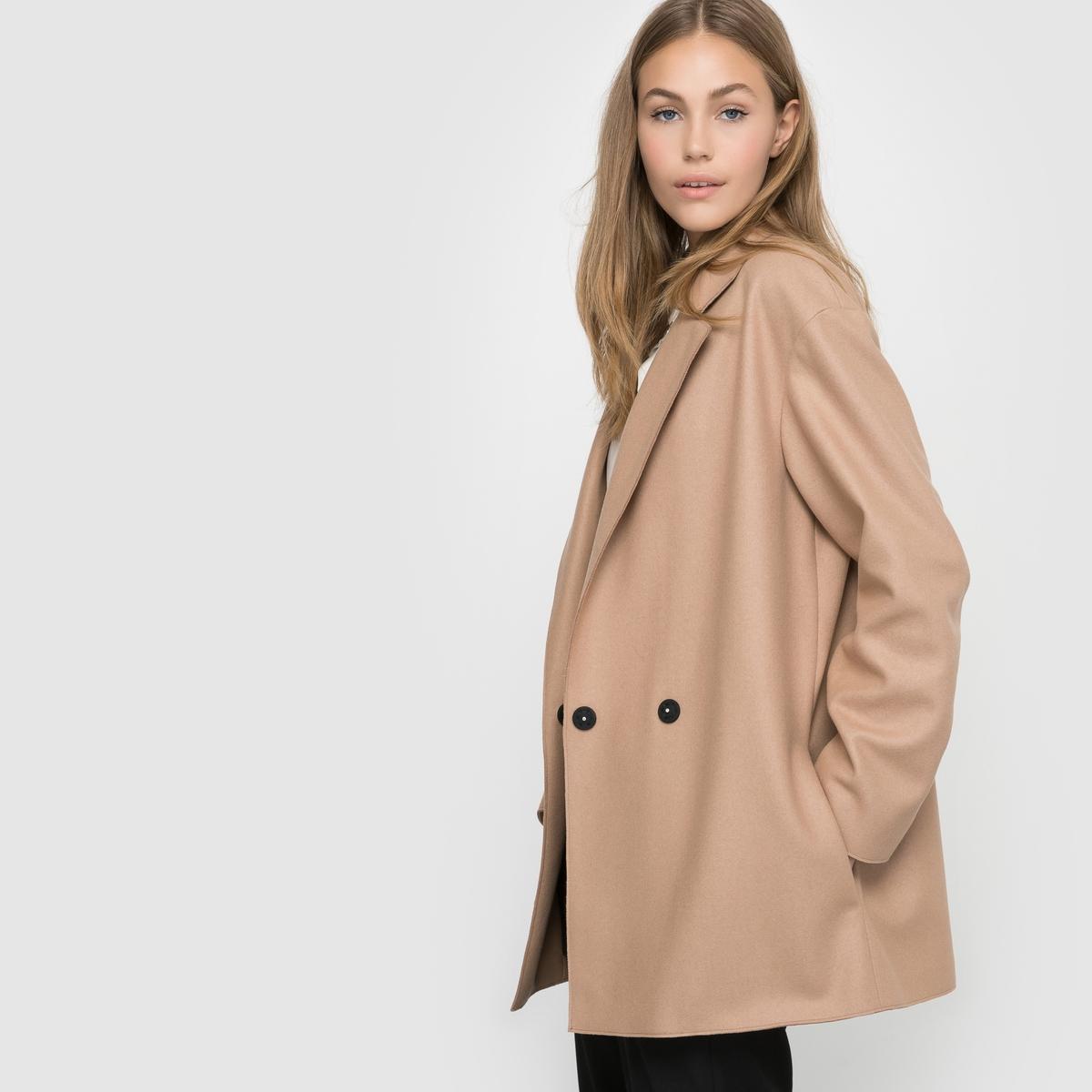 Пальто шерстяноеСостав и описание : Материал : 75% шерсти, 20% полиамида, 5% кашемира.Марка : French ConnectionЗастежка : на пуговицы .<br><br>Цвет: темно-бежевый<br>Размер: 40 (FR) - 46 (RUS)