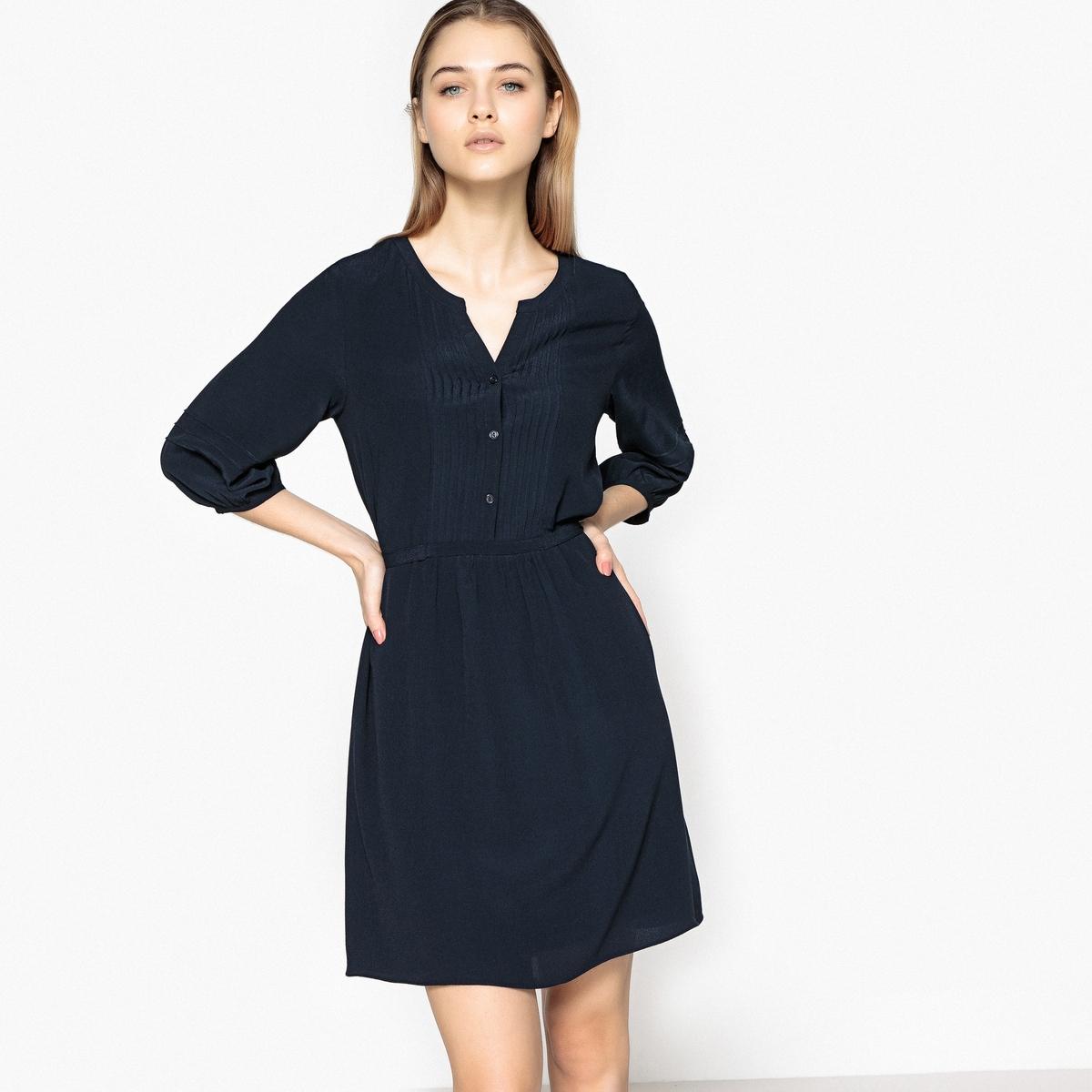 Платье с рукавами 3/4 RONCIERОписание:Детали •  Форма : прямая •  Укороченная модель •  Длинные рукава    •   V-образный вырезСостав и уход •  100% вискоза •  Следуйте советам по уходу, указанным на этикетке<br><br>Цвет: синий морской<br>Размер: S