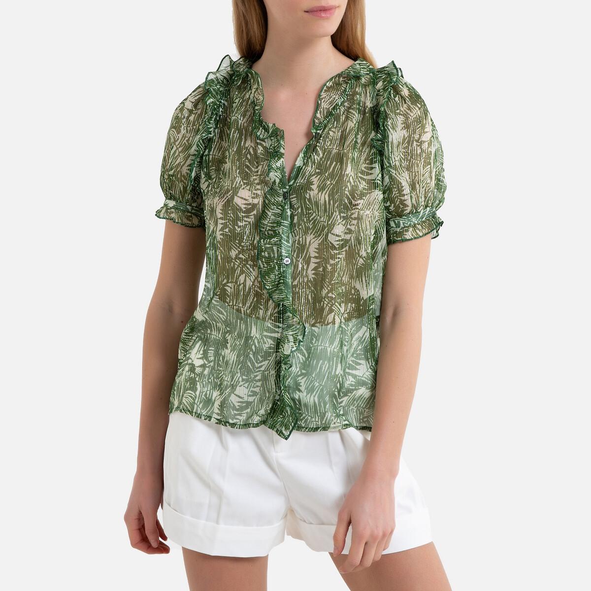 Блузка La Redoute Из вуали с принтом короткими рукавами HOUNA 40 (FR) - 46 (RUS) зеленый