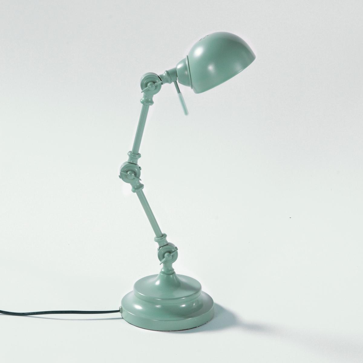 Лампа настольная из металла в промышленном стиле, KikanНастольная лампа немного в стиле ретро, Kikan. Описание настольной лампы из металла в промышленном стиле Kikan :Раздвижной кронштейн из 3 регулируемых шарниров. Патрон E14 для компактной флуоресцентной лампы макс. 7 Вт (продается отдельно). Настольная лампа из металла в промышленном стиле совместима с лампами класса энергопотребления : A.  Характеристики настольной лампы из металла в промышленном стиле Kikan :Из металлаХромированное покрытие черного цвета или цвета синий деним. Всю коллекцию светильников вы можете найти на сайте laredoute.ru.  Размеры настольной лампы из металла в промышленном стиле Kikan :Подставка :Диаметр : 16 смАбажур : Диаметр : 11,5 смОбщие размеры :Высота : 40 см.<br><br>Цвет: серо-зеленый