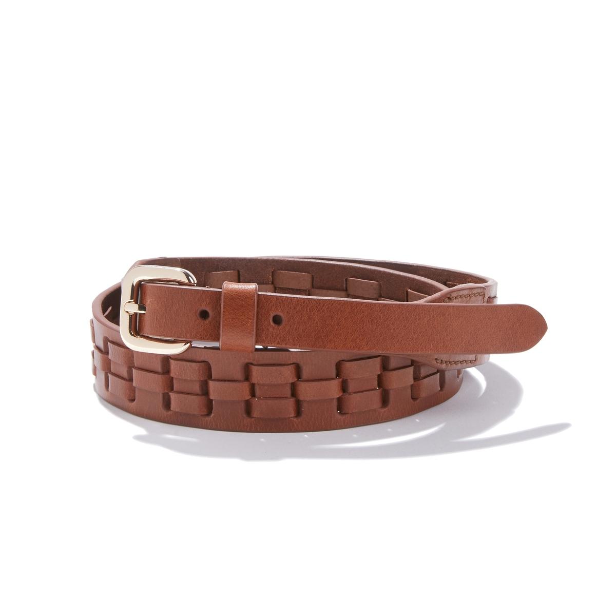 Cinturón de piel con efecto trenzado