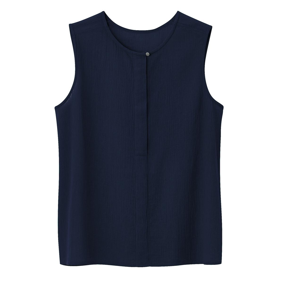 Блузка однотонная с круглым вырезом, с короткими рукавами