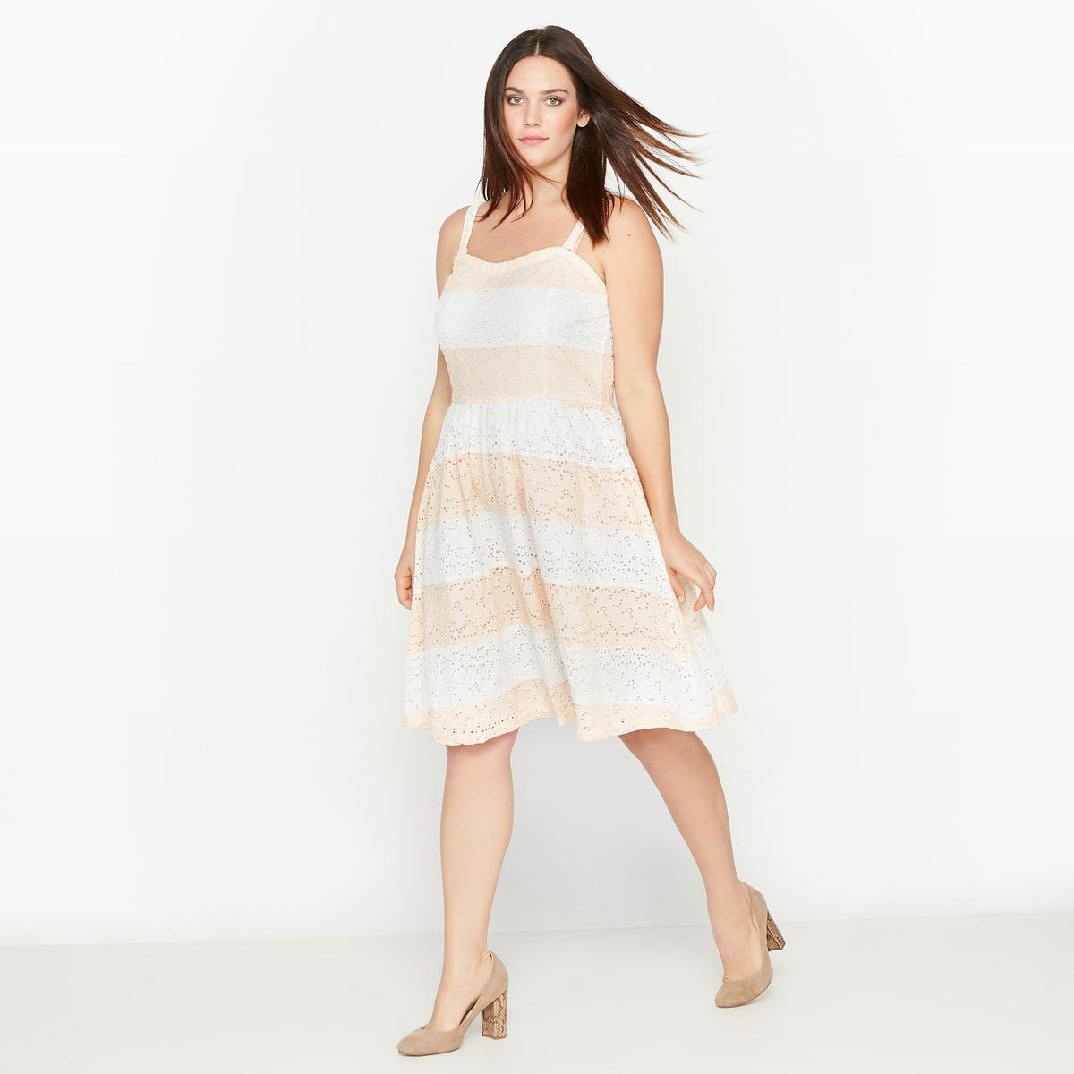 Платье-бюстье расклешенноеРасклешенное платье-бюстье.Скрытая застежка на молнию сзади.Съемные бретели.Состав и описание :Материал : 100% хлопок.Длина посередине спинки 78 см, длина с бретелями 92 см, для размера 48.Марка : CASTALUNA.Уход : Машинная стирка при 40°.<br><br>Цвет: В полоску коралловый/экрю<br>Размер: 50 (FR) - 56 (RUS).42 (FR) - 48 (RUS).56 (FR) - 62 (RUS)