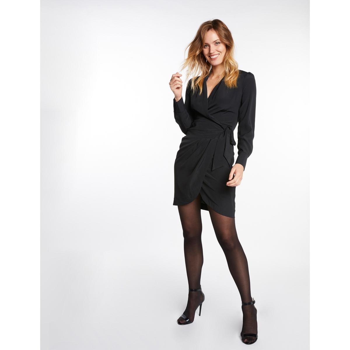 Платье La Redoute Короткое с запахом с длинными рукавами 42 (FR) - 48 (RUS) черный платье la redoute короткое прямое с короткими рукавами 42 fr 48 rus черный