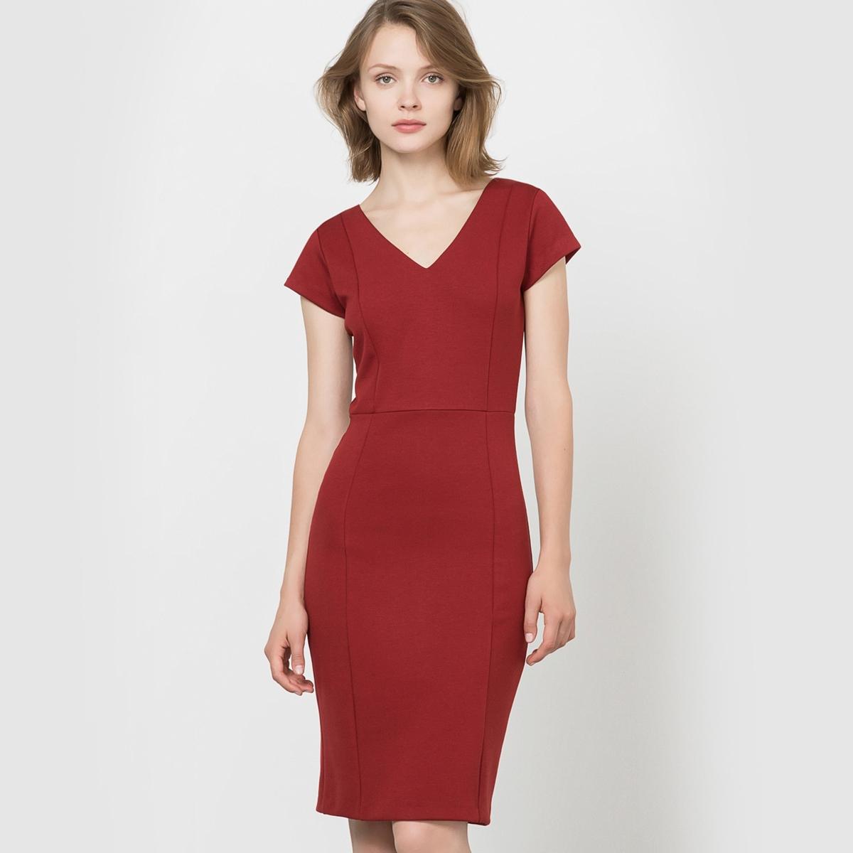 Платье приталенное из плотного трикотажа