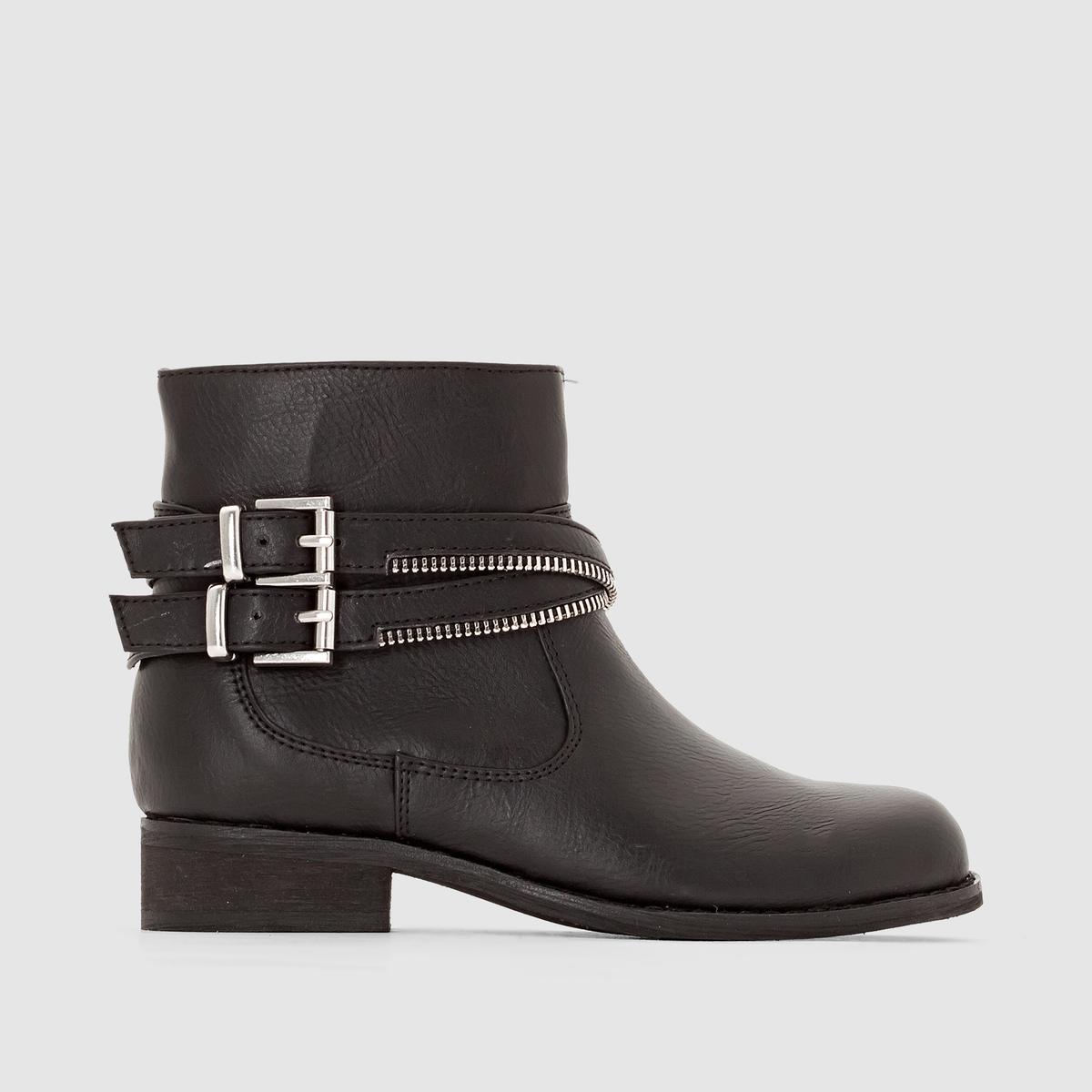 Ботинки в байкерском стиле с ремешкамиПрекрасная модель с ремешками в байкерском стиле : ботинки, которые произведут впечатление как на перемене, так и на подиуме !<br><br>Цвет: черный<br>Размер: 26.39.36.35.29